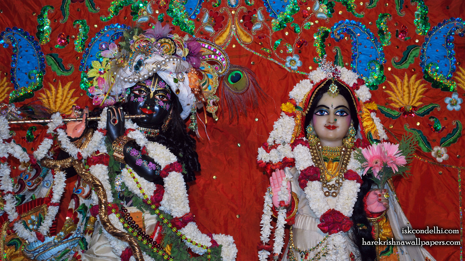 Sri Sri Radha Parthasarathi Close up Wallpaper (001) Size 1600x900 Download