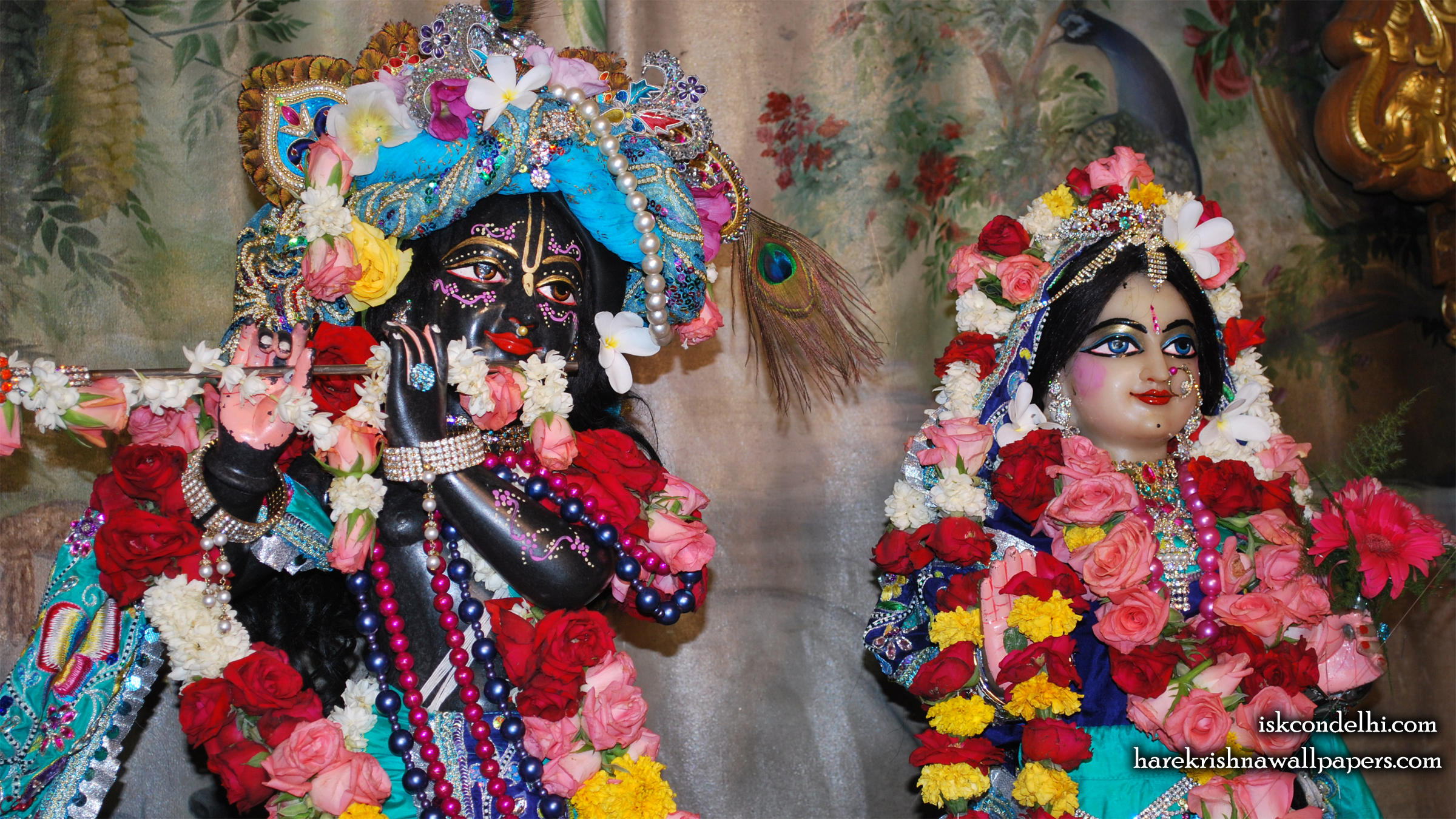 Sri Sri Radha Parthasarathi Close up Wallpaper (003) Size 2400x1350 Download