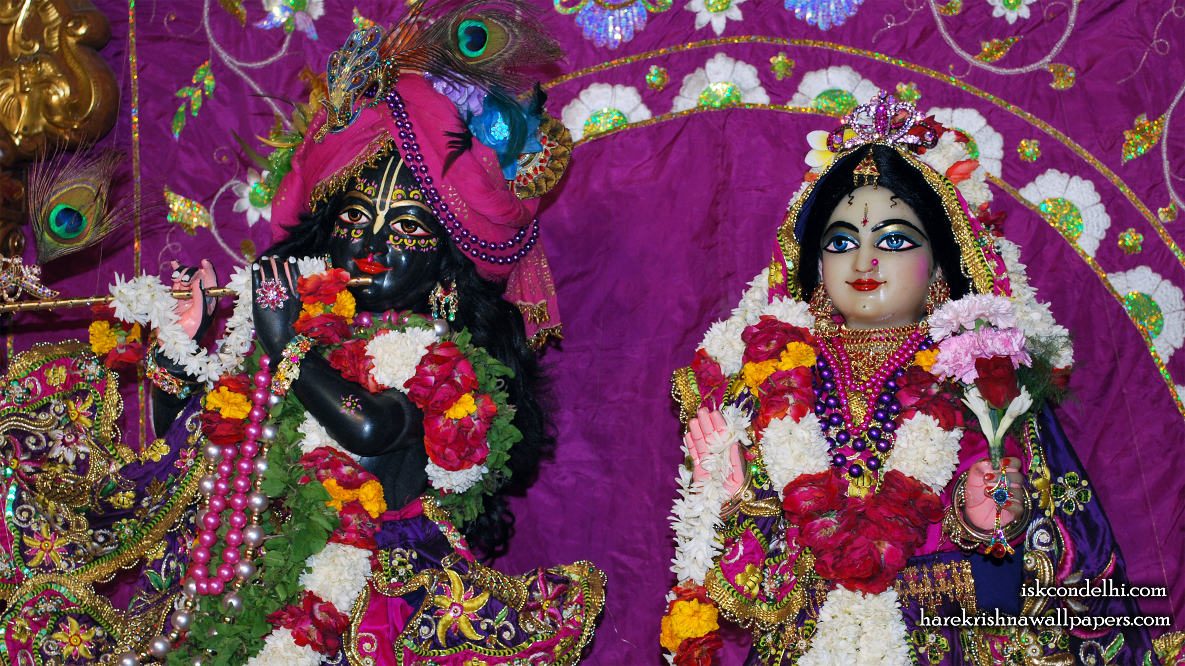 Sri Sri Radha Parthasarathi Close up Wallpaper (006) Size 2400x1350 Download