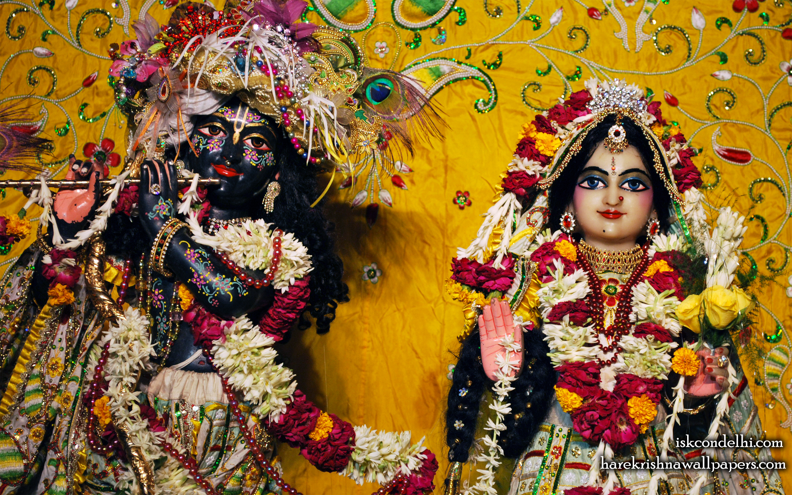 Sri Sri Radha Parthasarathi Close up Wallpaper (010) Size 2560x1600 Download