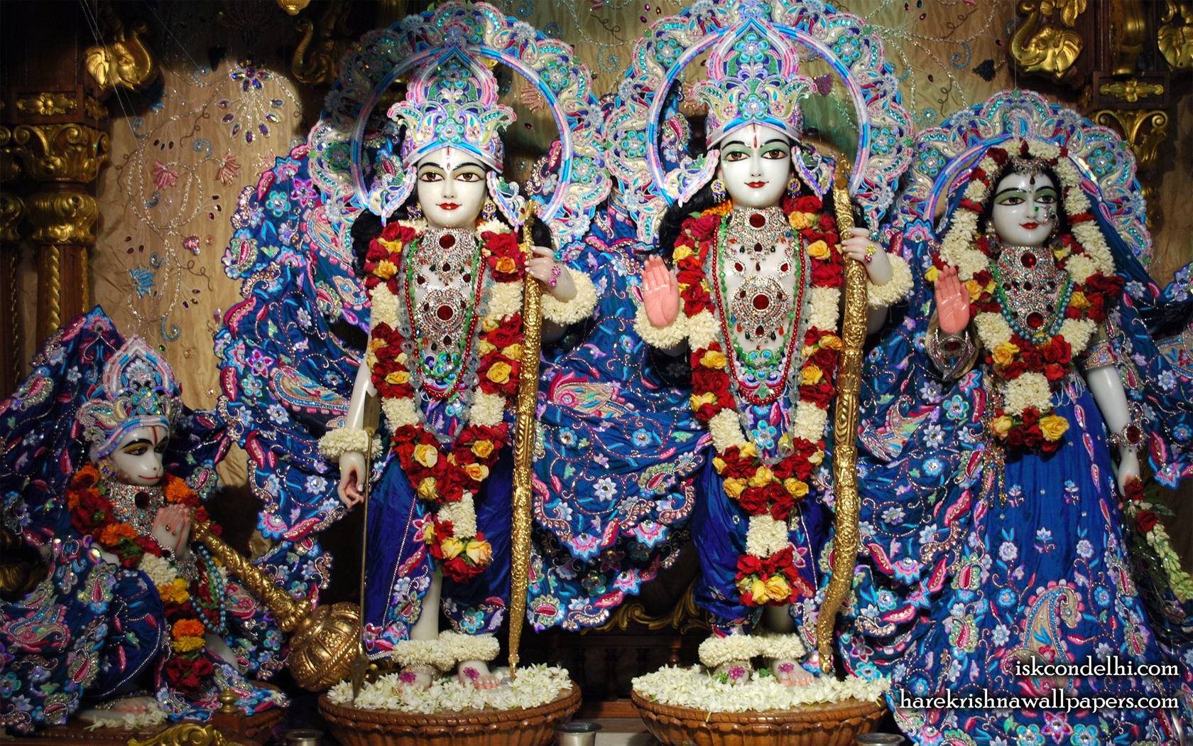 Sri Sri Sita Rama Laxman Hanuman Wallpaper (010) Size 1680x1050 Download