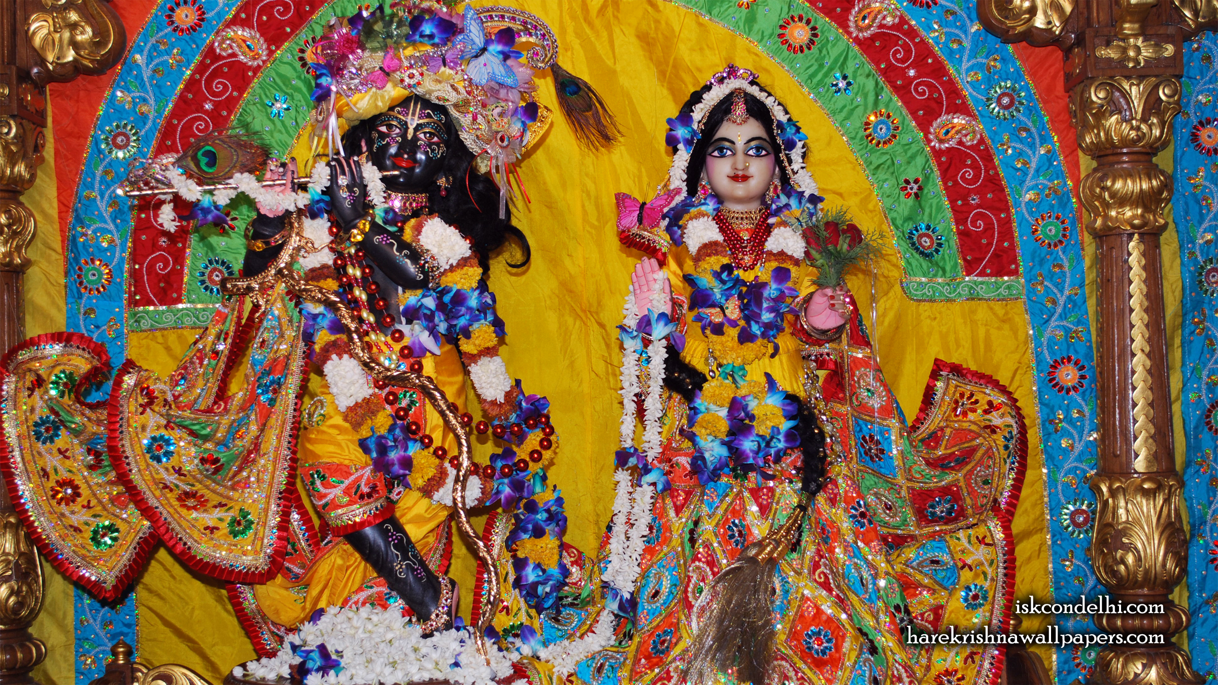 Sri Sri Radha Parthasarathi Wallpaper (012) Size 2400x1350 Download
