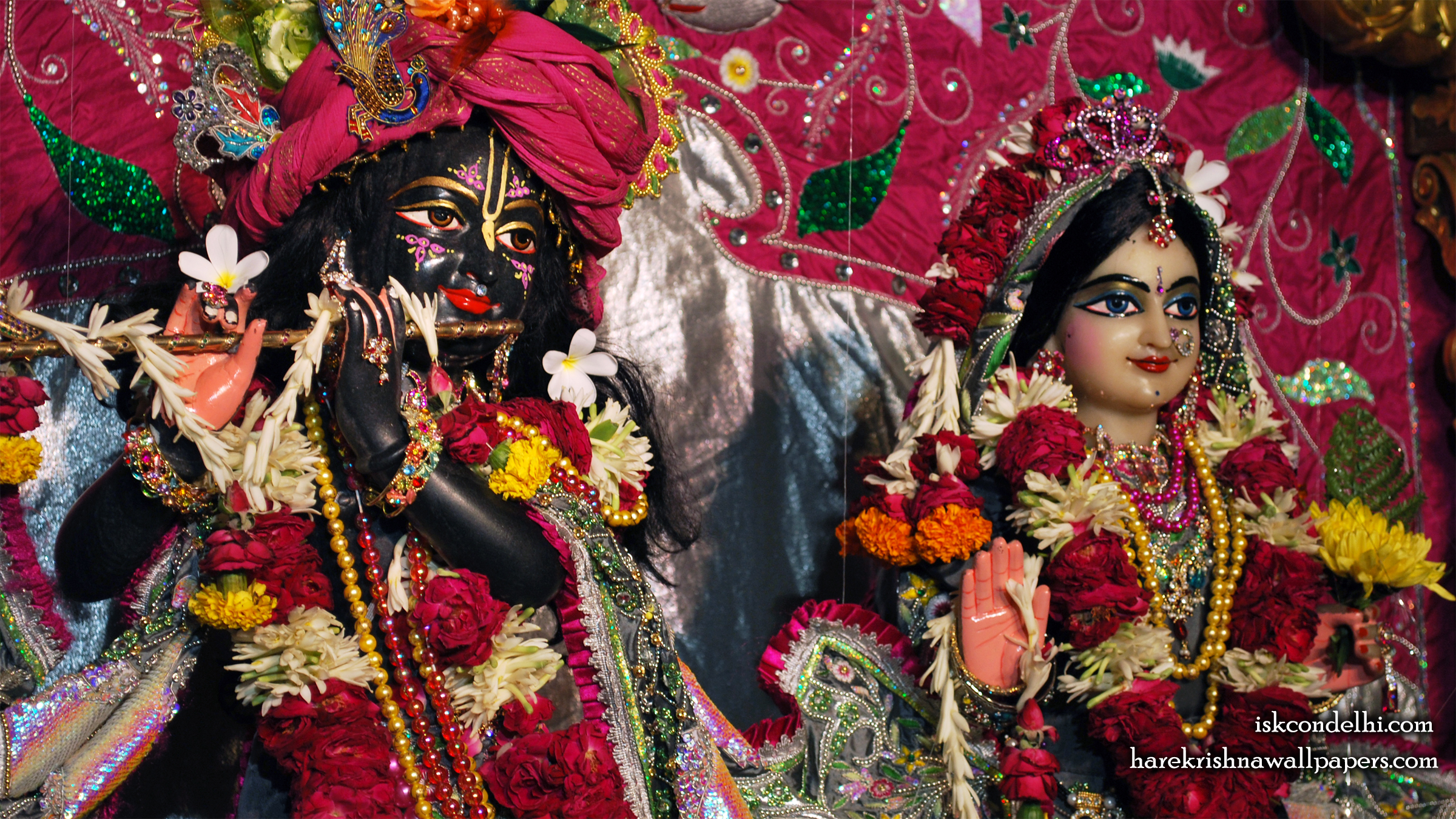 Sri Sri Radha Parthasarathi Close up Wallpaper (014) Size 2400x1350 Download