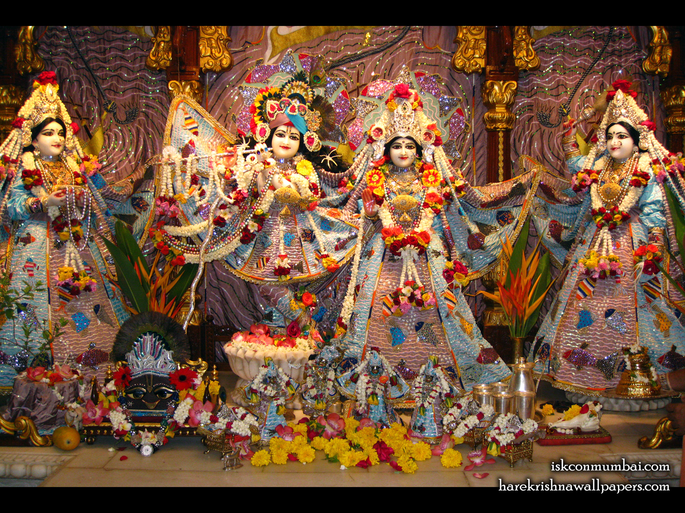 Sri Sri Radha Rasabihari Lalita Vishakha Wallpaper (001) Size 1400x1050 Download