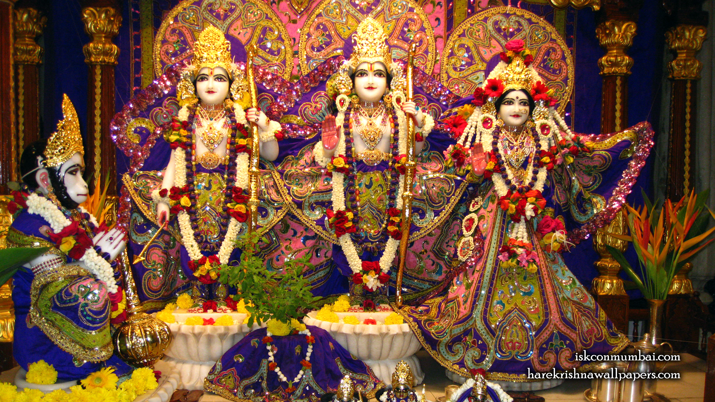 Sri Sri Sita Rama Laxman Hanuman Wallpaper (001) Size 2400x1350 Download