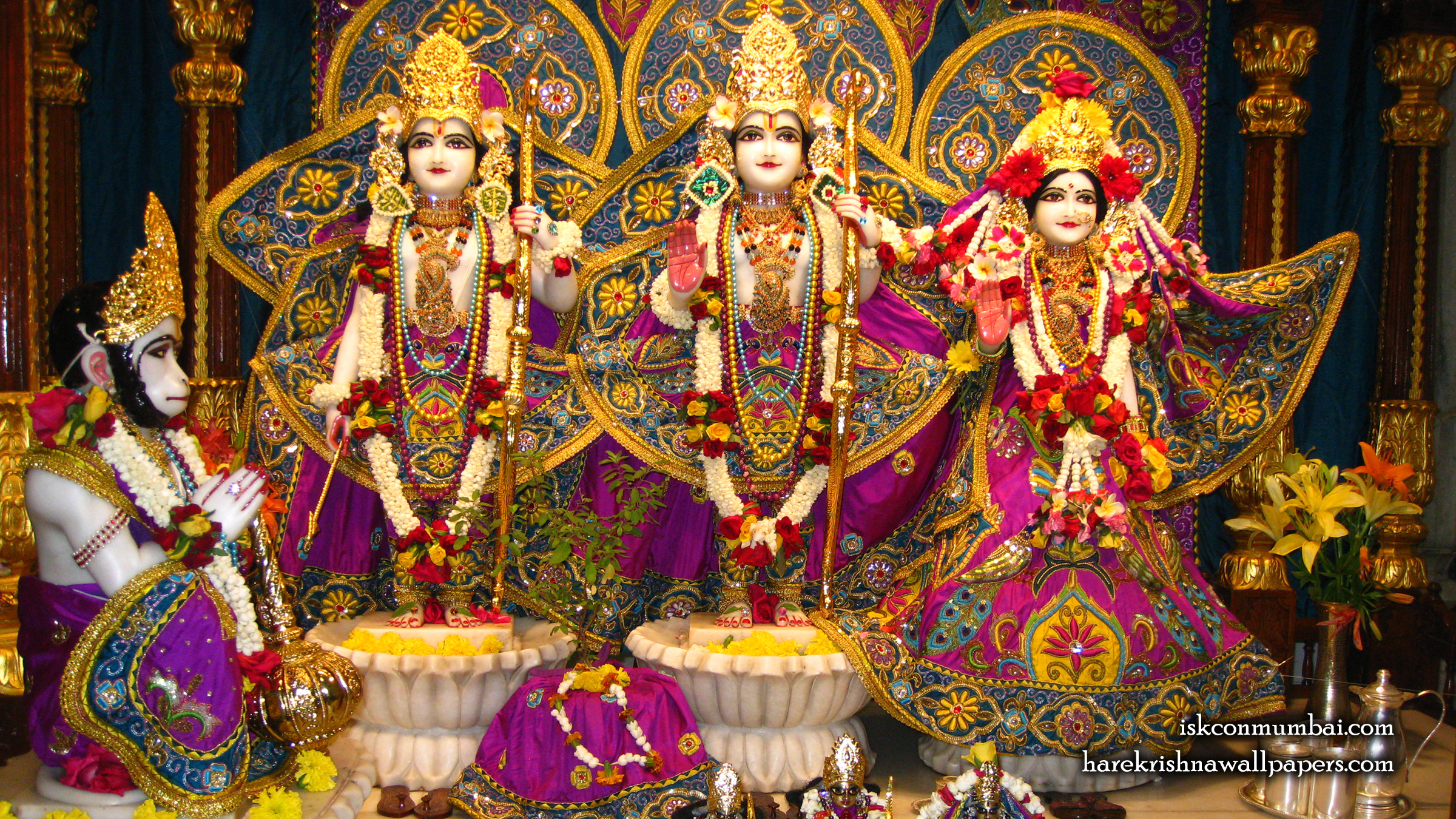 Sri Sri Sita Rama Laxman Hanuman Wallpaper (006) Size 2400x1350 Download
