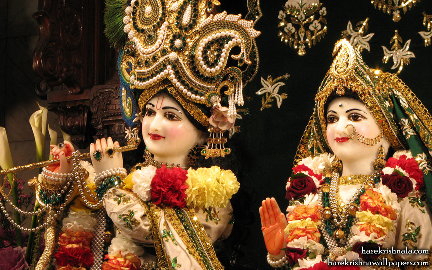 Sri Sri Rukmini Dwarkadhish Close up Wallpaper (010) Size 1680x1050 Download