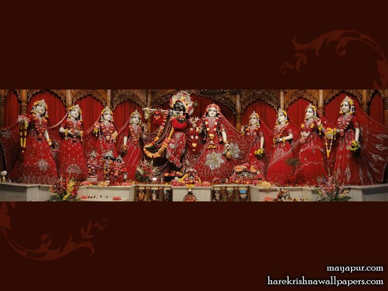Sri Radha Madhava with Asta Sakhi Wallpaper (006)