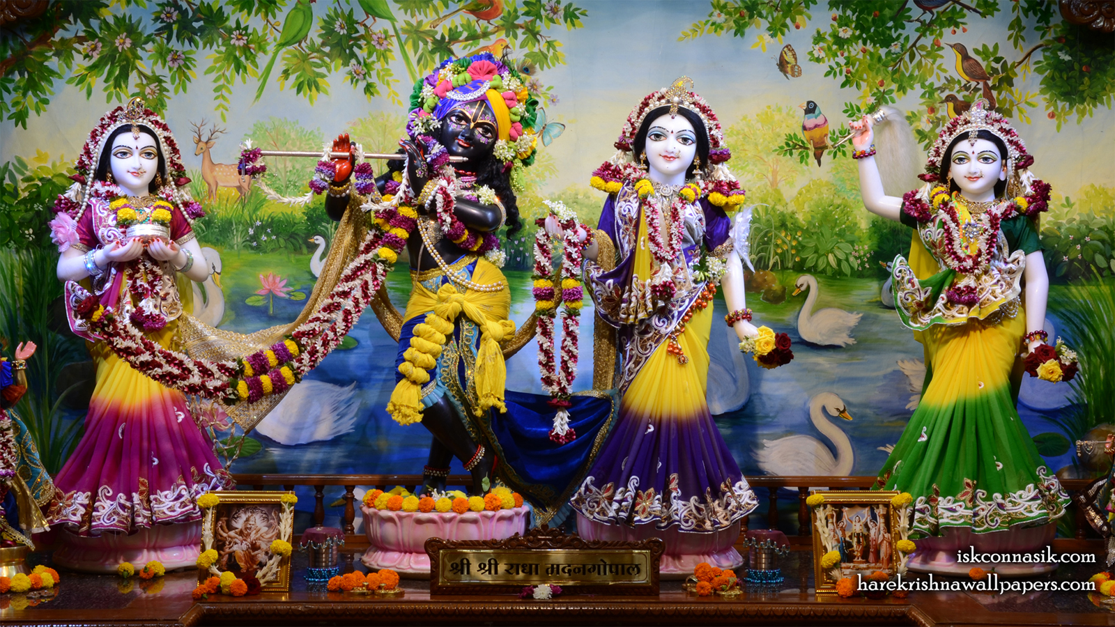 Sri Sri Radha Madan Gopal Lalita Vishakha Wallpaper (001) Size 1600x900 Download
