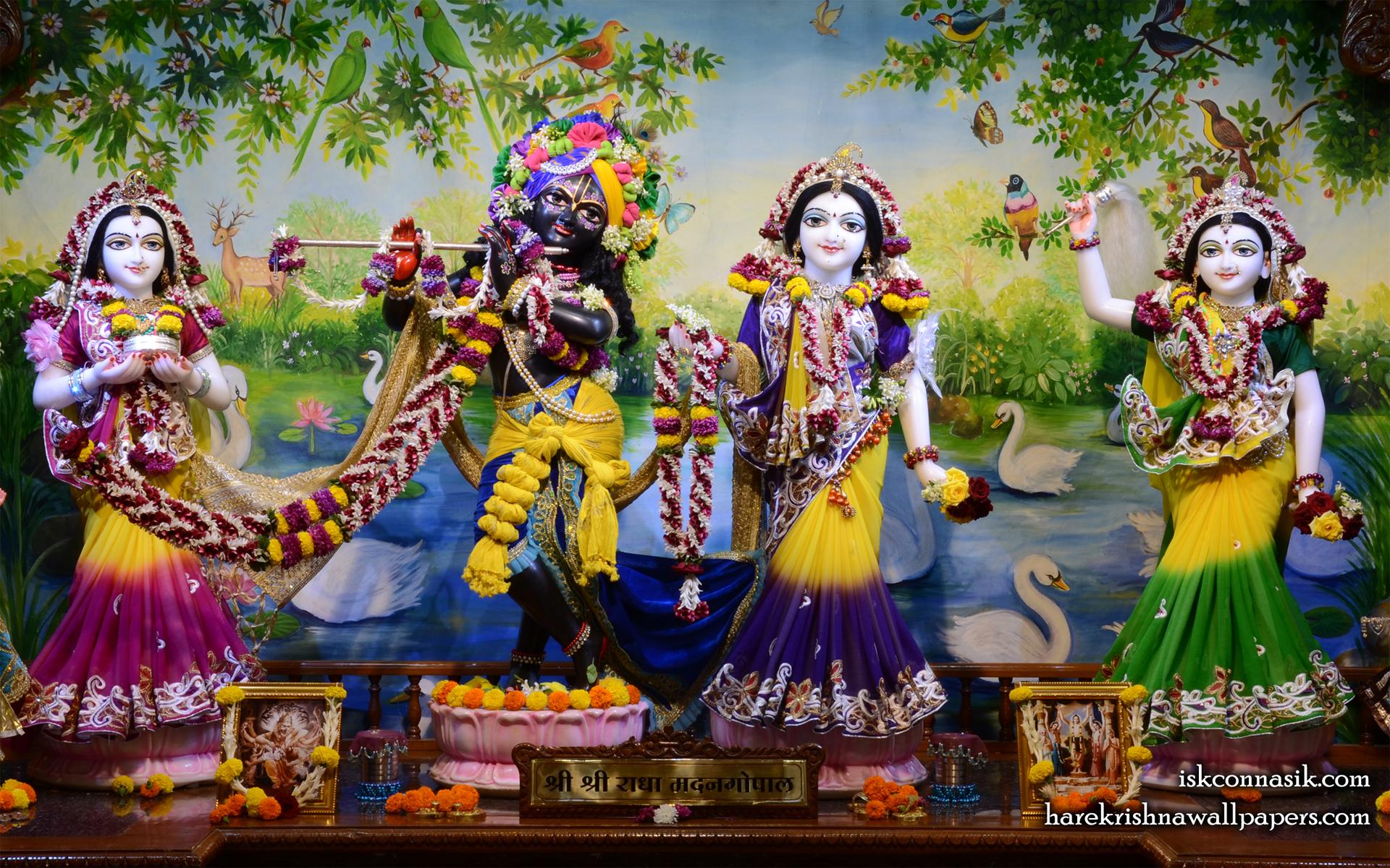 Sri Sri Radha Madan Gopal Lalita Vishakha Wallpaper (001) Size 1920x1200 Download