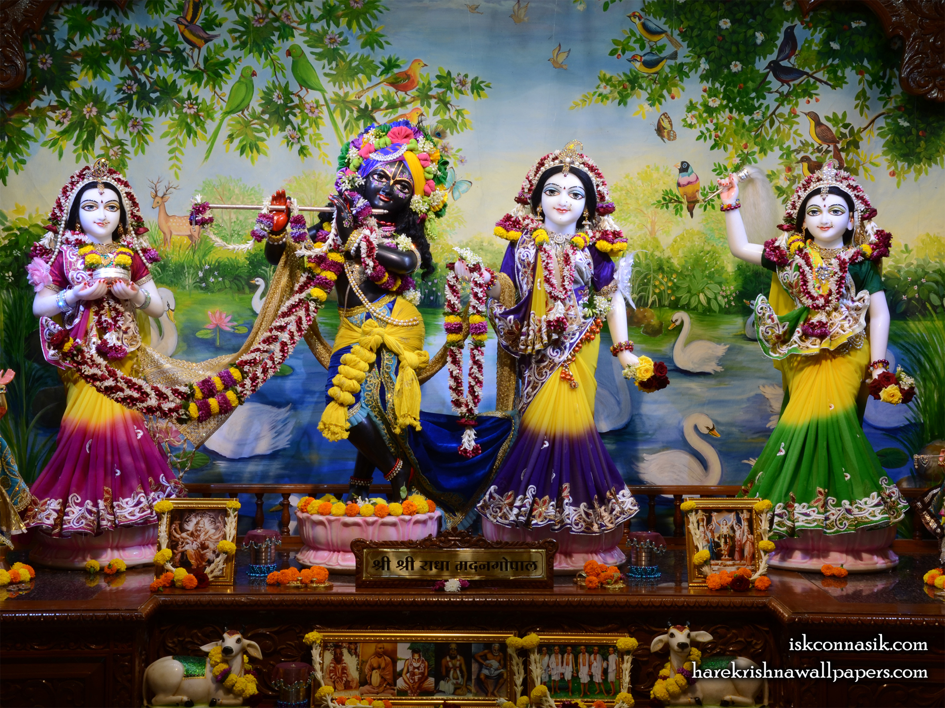 Sri Sri Radha Madan Gopal Lalita Vishakha Wallpaper (001) Size 1920x1440 Download