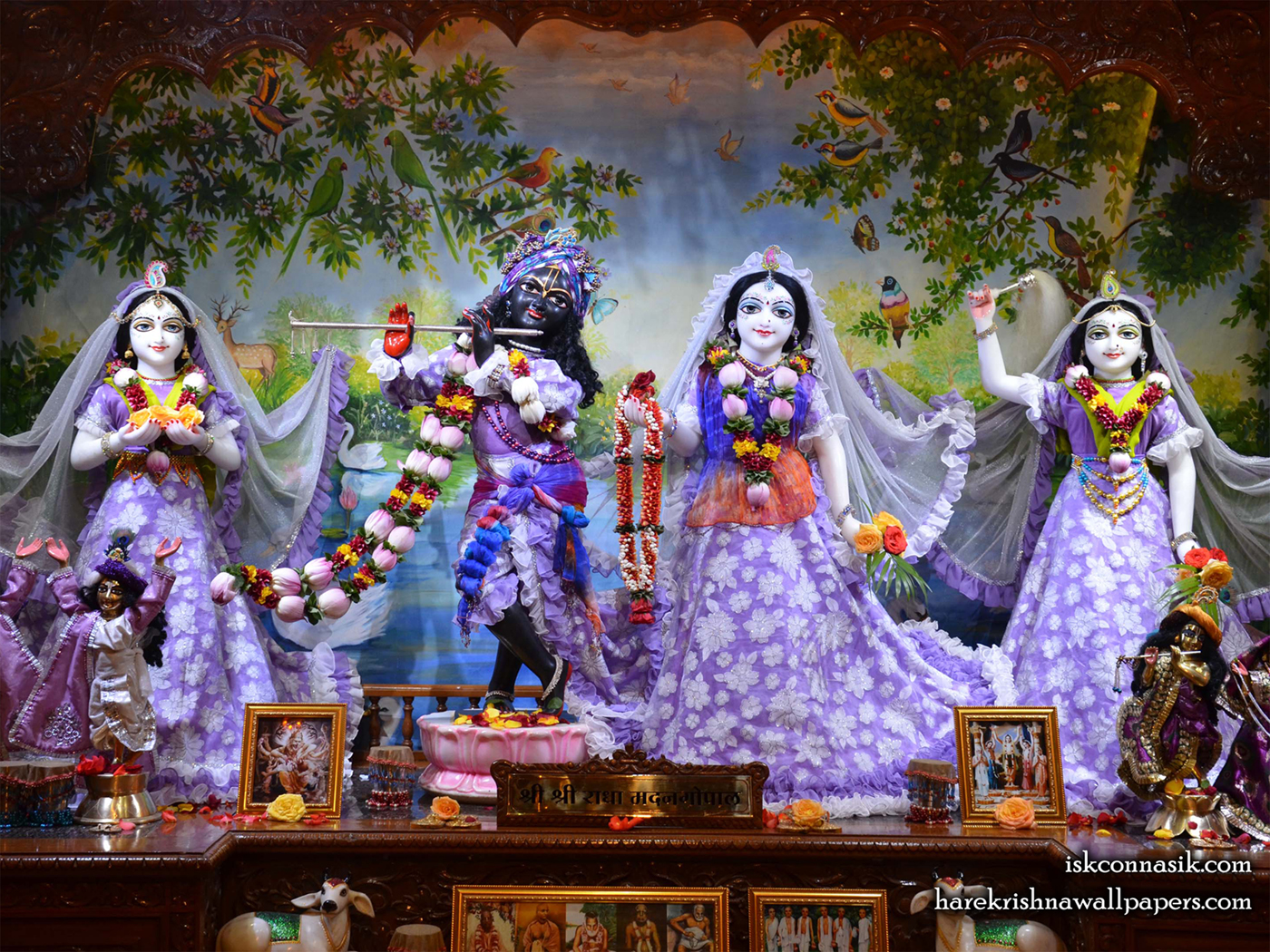 Sri Sri Radha Madan Gopal Lalita Vishakha Wallpaper (002) Size 1400x1050 Download