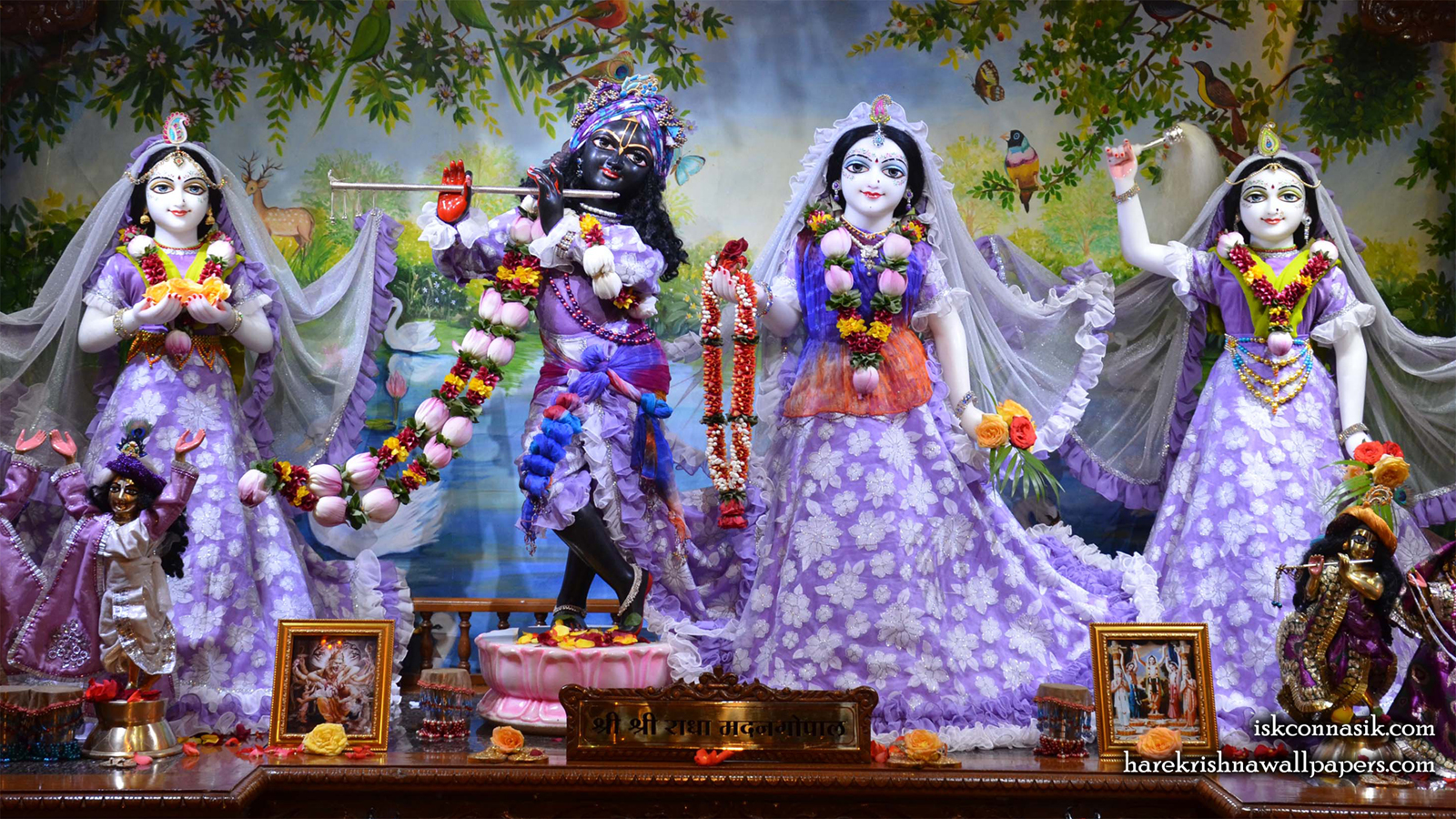Sri Sri Radha Madan Gopal Lalita Vishakha Wallpaper (002) Size 1600x900 Download