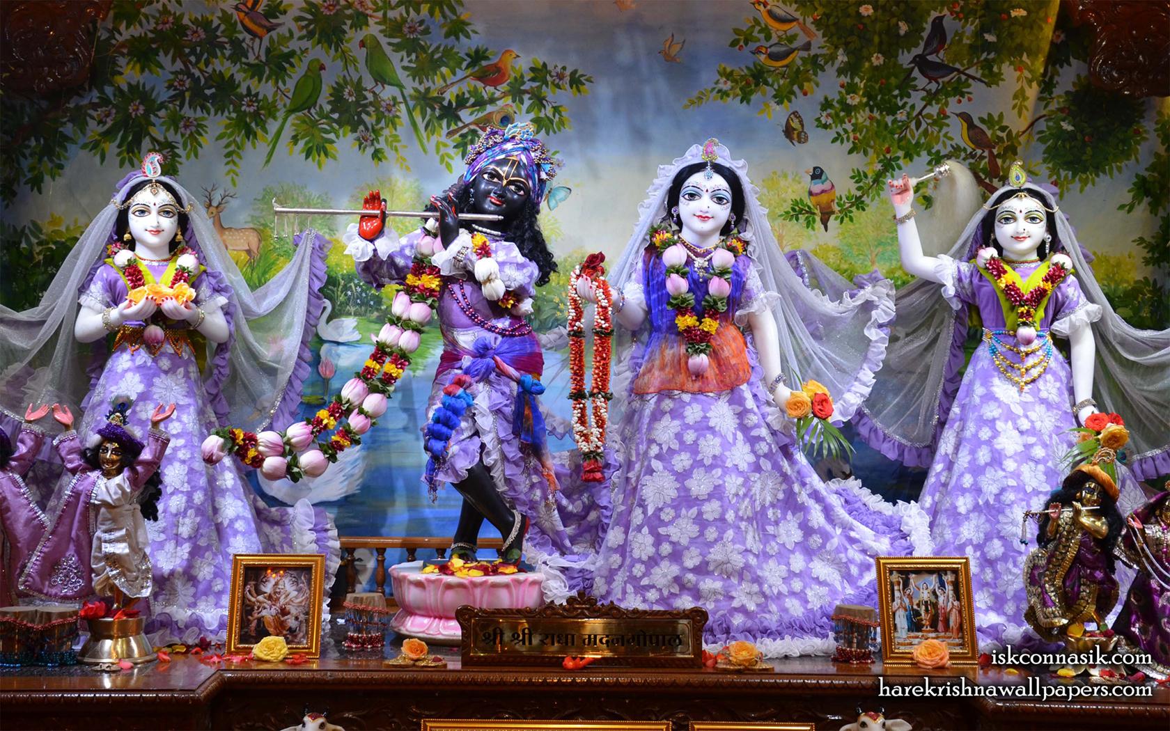 Sri Sri Radha Madan Gopal Lalita Vishakha Wallpaper (002) Size 1680x1050 Download