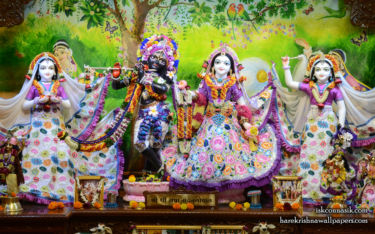 Sri Sri Radha Madan Gopal Lalita Vishakha Wallpaper (003) Size 1280x800 Download