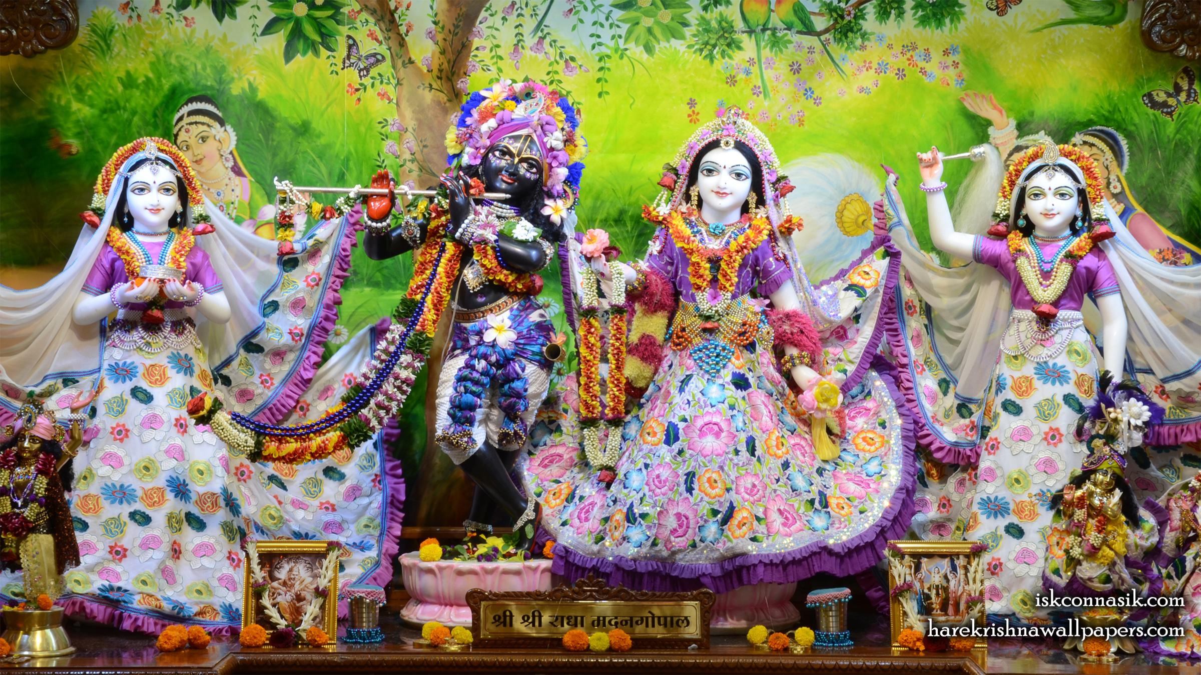 Sri Sri Radha Madan Gopal Lalita Vishakha Wallpaper (003) Size 2400x1350 Download