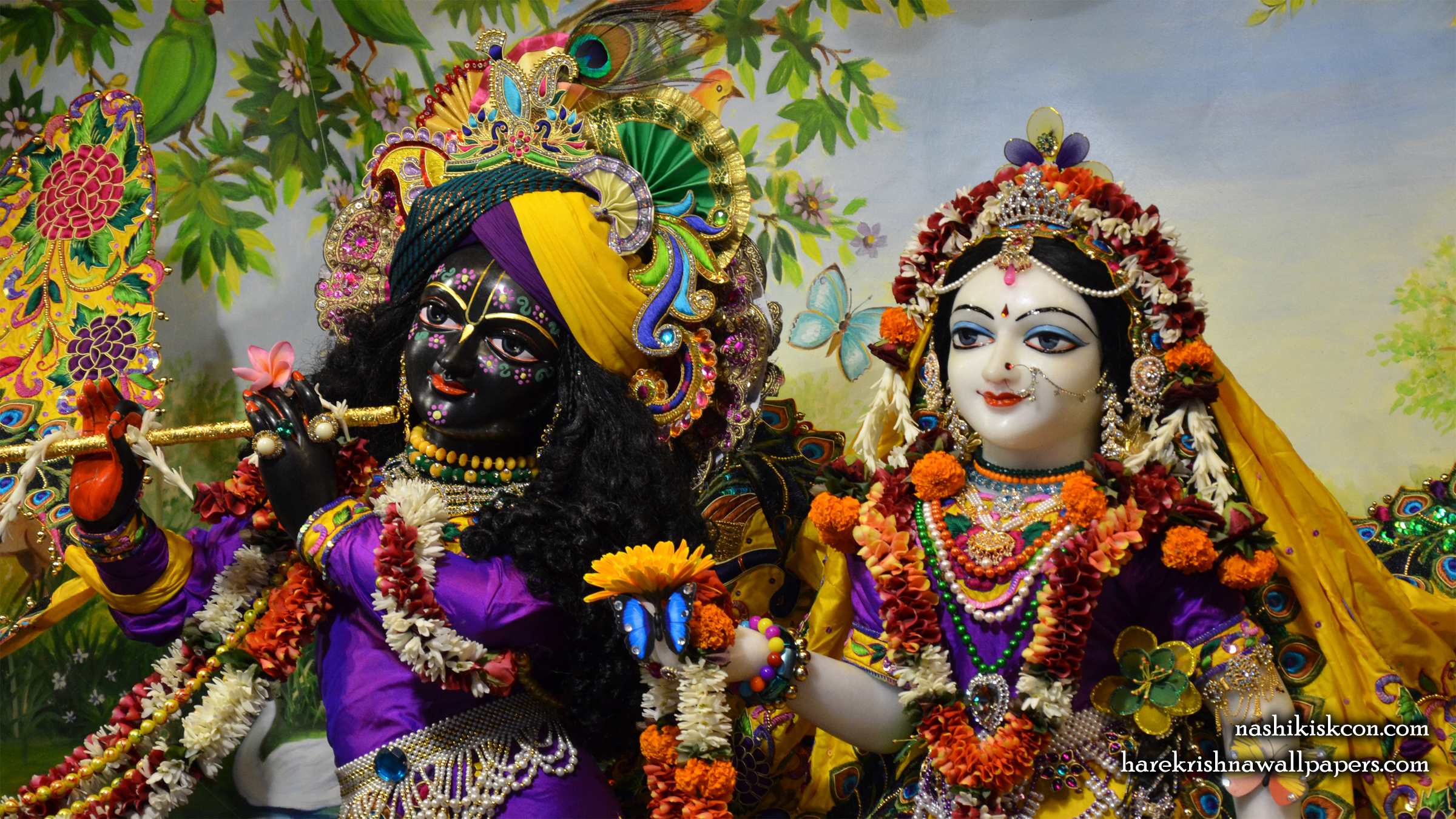 Sri Sri Radha Madan Gopal Close up Wallpaper (006) Size 2400x1350 Download