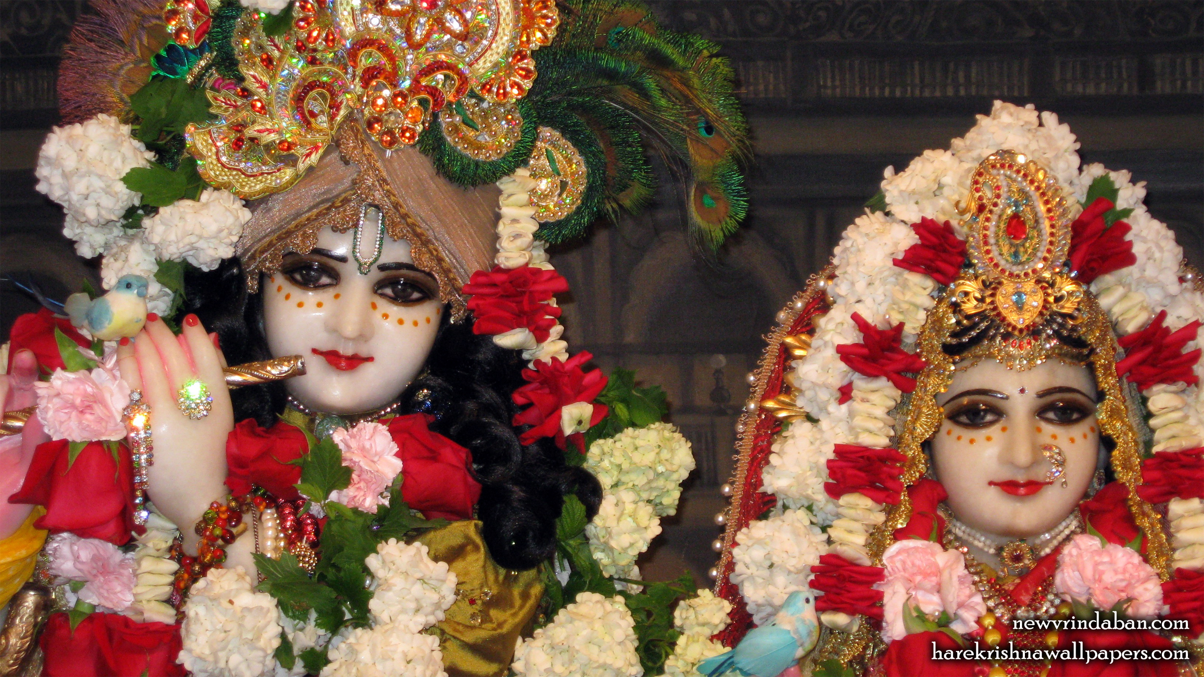 Sri Sri Radha Vrindavana Chandra Close up Wallpaper (003) Size 2400x1350 Download