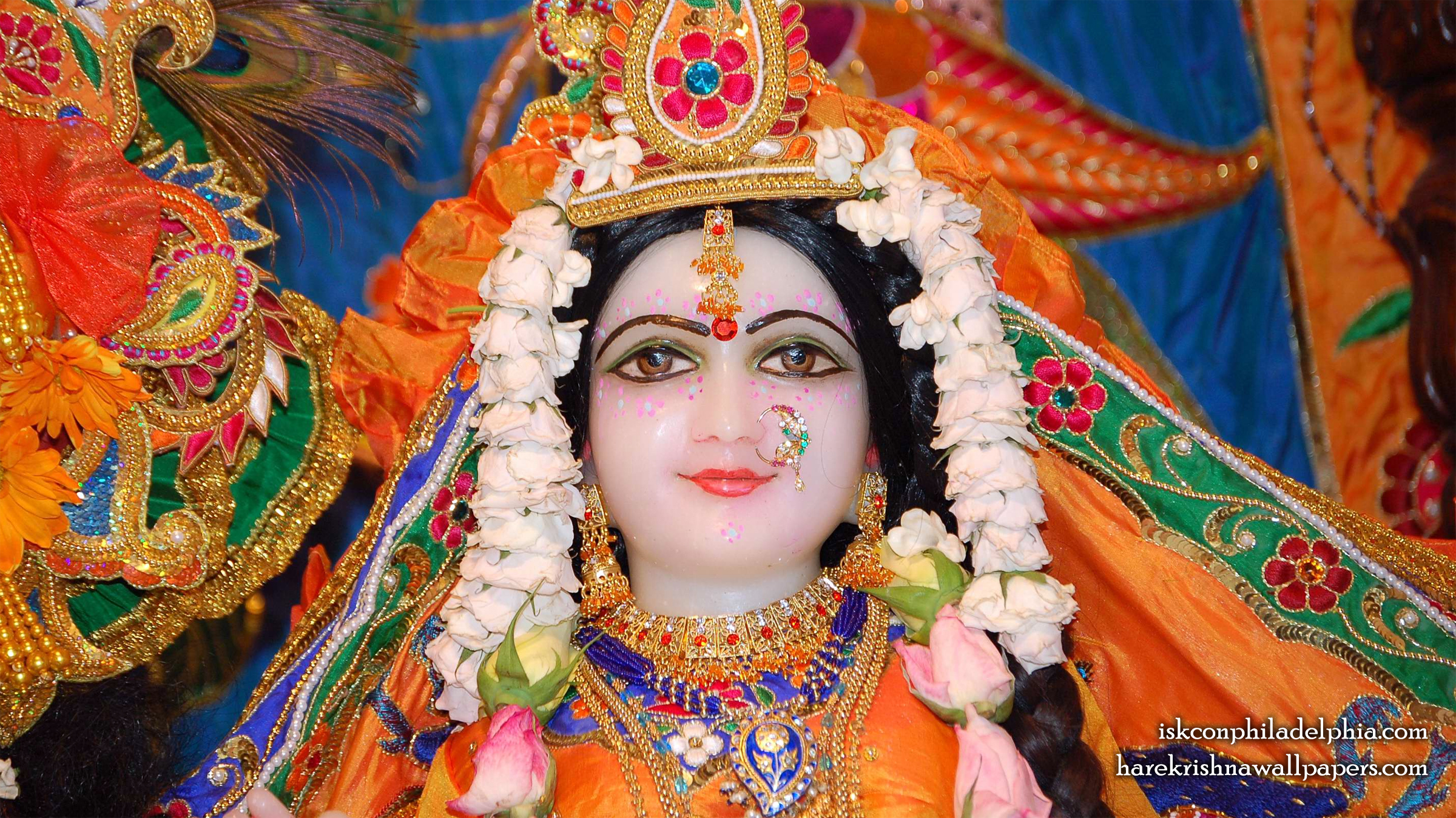 Sri Radha Close up Wallpaper (001) Size 2400x1350 Download