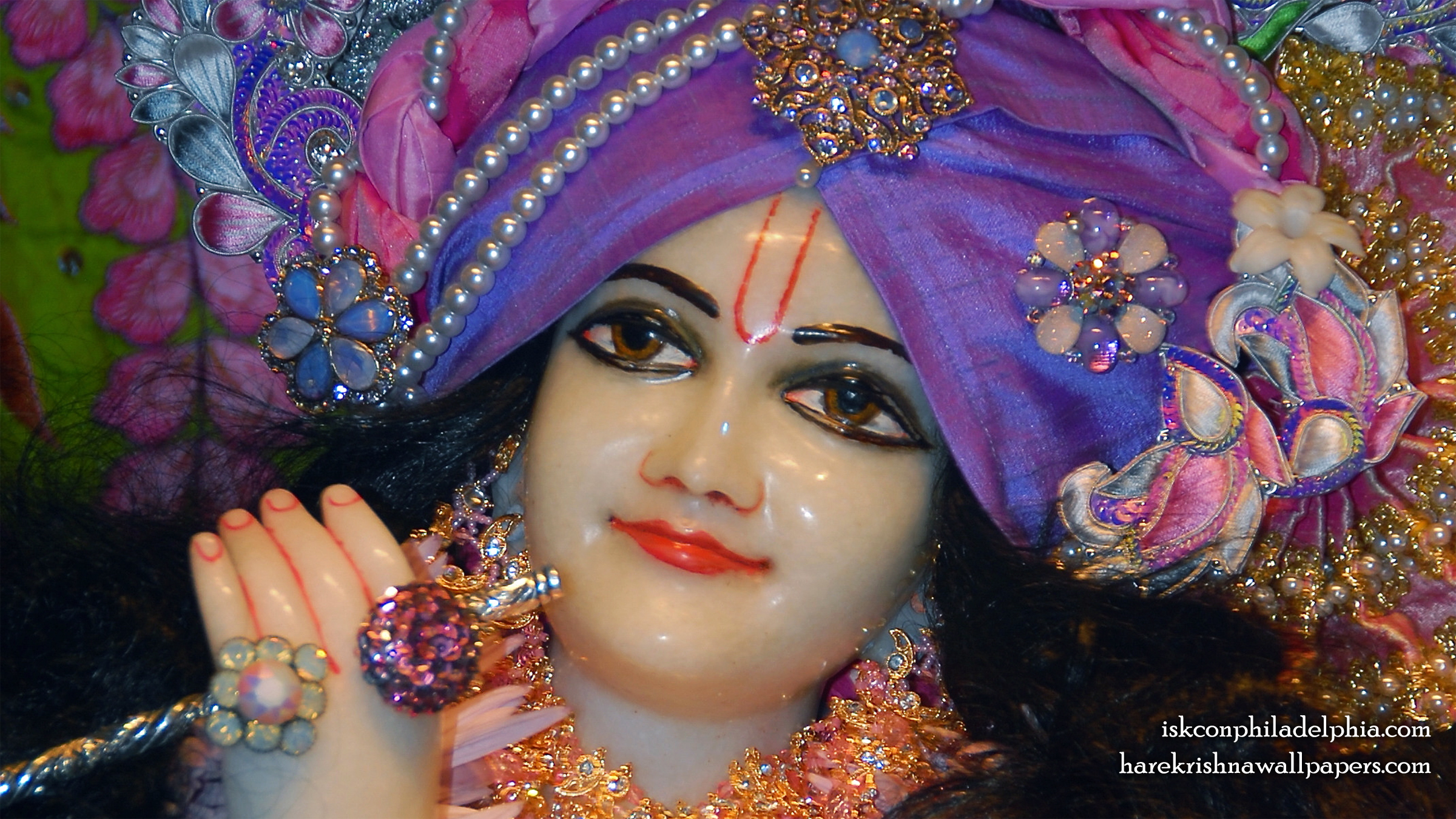Sri Krishna Close up Wallpaper (007) Size 2400x1350 Download