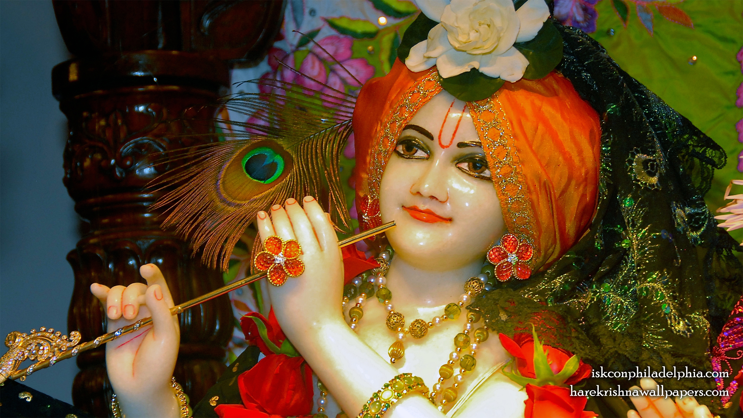 Sri Krishna Close up Wallpaper (008) Size 2400x1350 Download