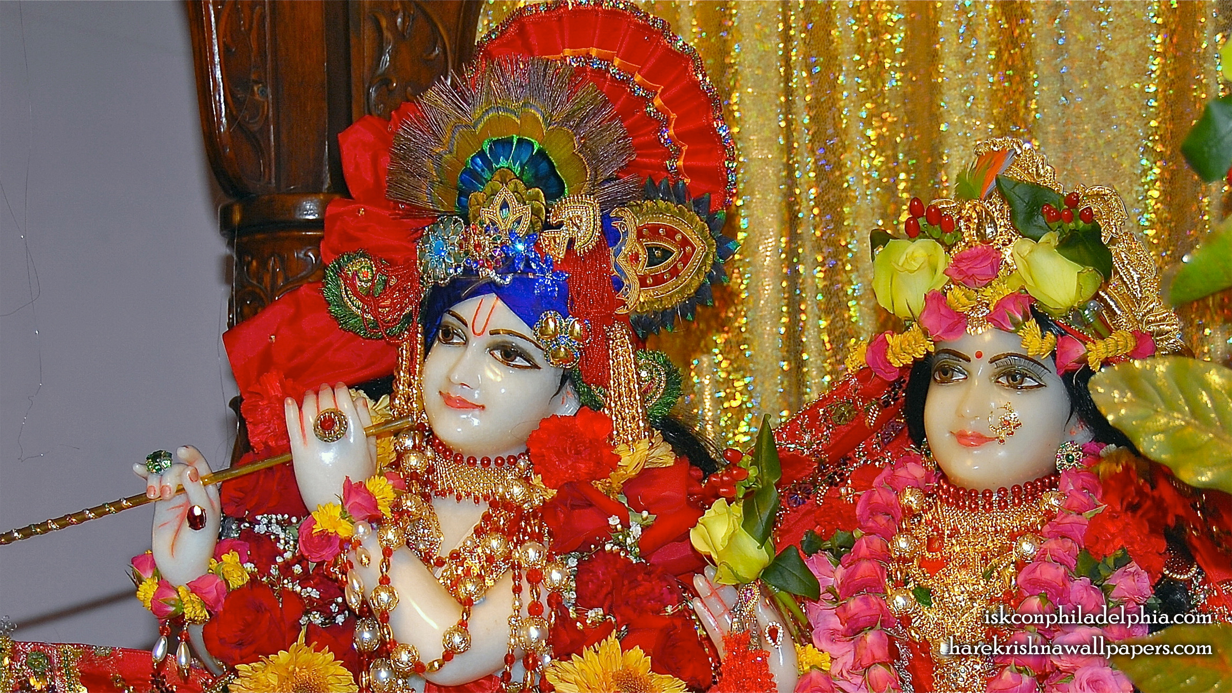 Sri Sri Radha Krishna Close up Wallpaper (009) Size 2400x1350 Download