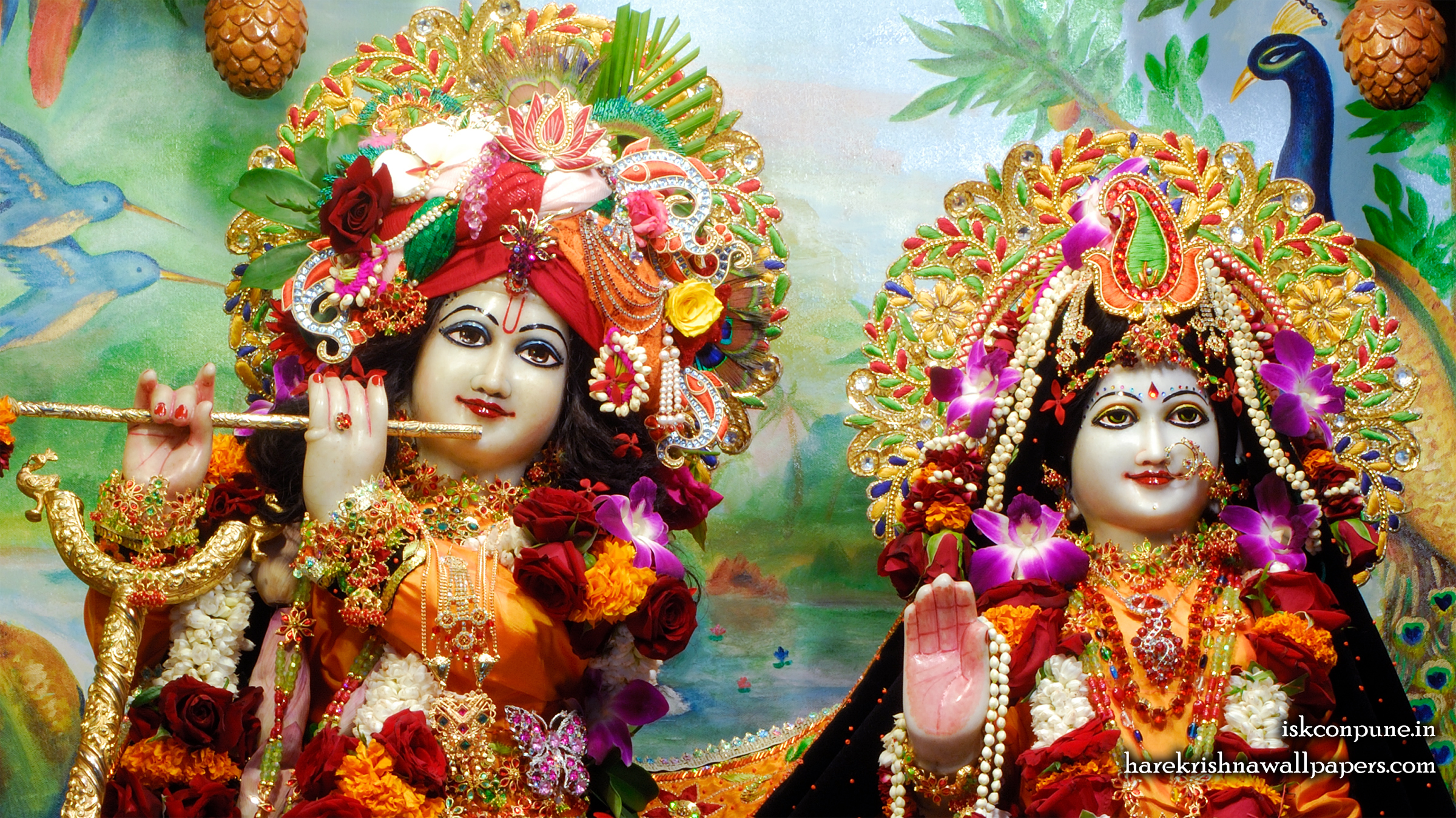 Sri Sri Radha Kunjabihari Close up Wallpaper (001) Size 2400x1350 Download