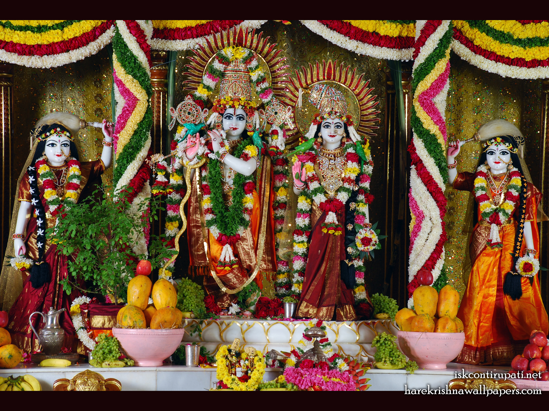 Sri Sri Radha Govinda Lalita Vishakha Wallpaper (001) Size 1920x1440 Download