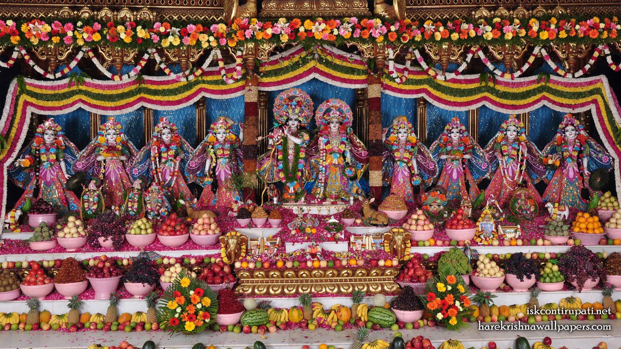 Sri Sri Radha Govinda with Ashtasakhi Wallpaper (001) Size 2400x1350 Download