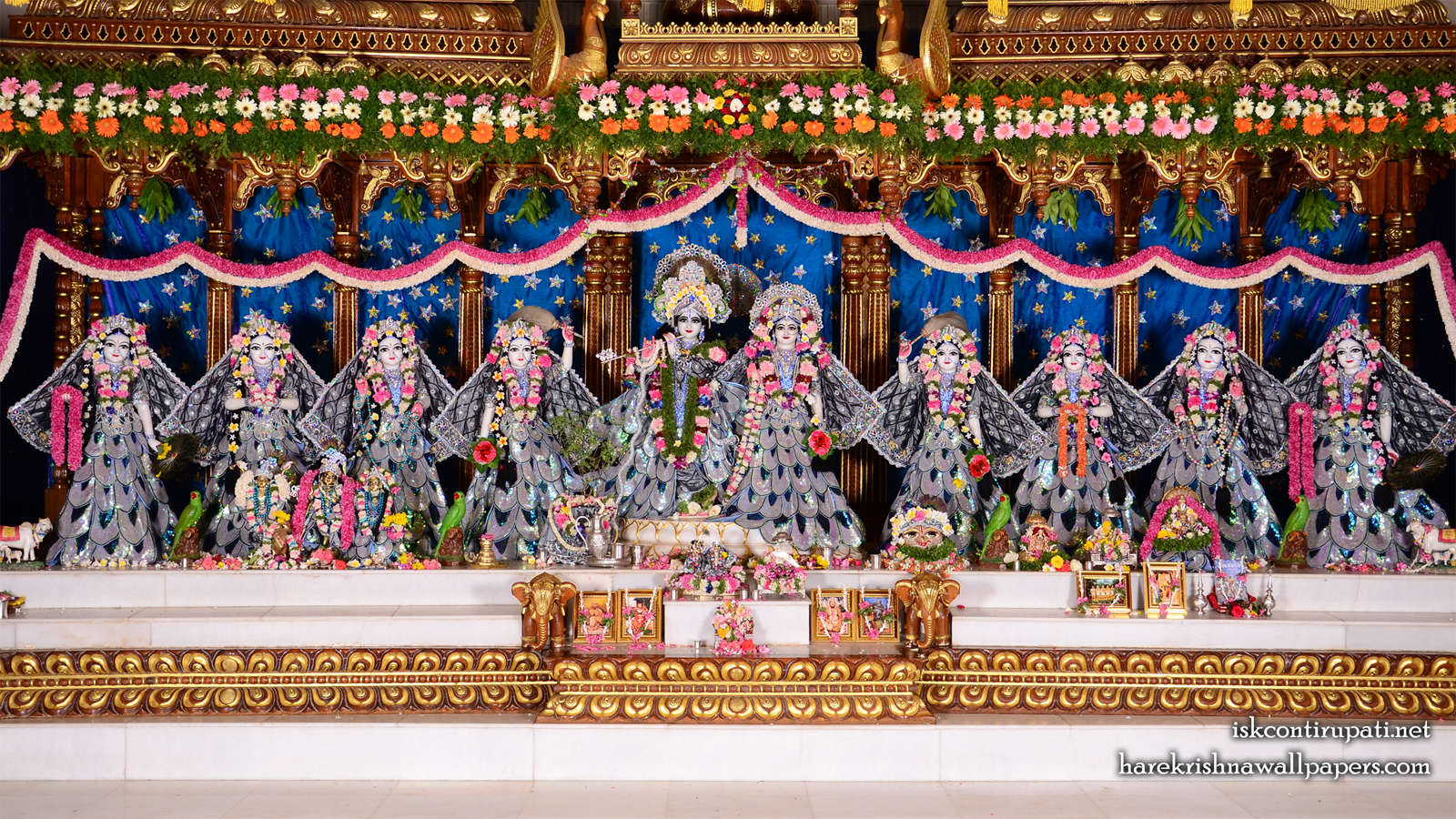 Sri Sri Radha Govinda with Ashtasakhi Wallpaper (004) Size 1600x900 Download