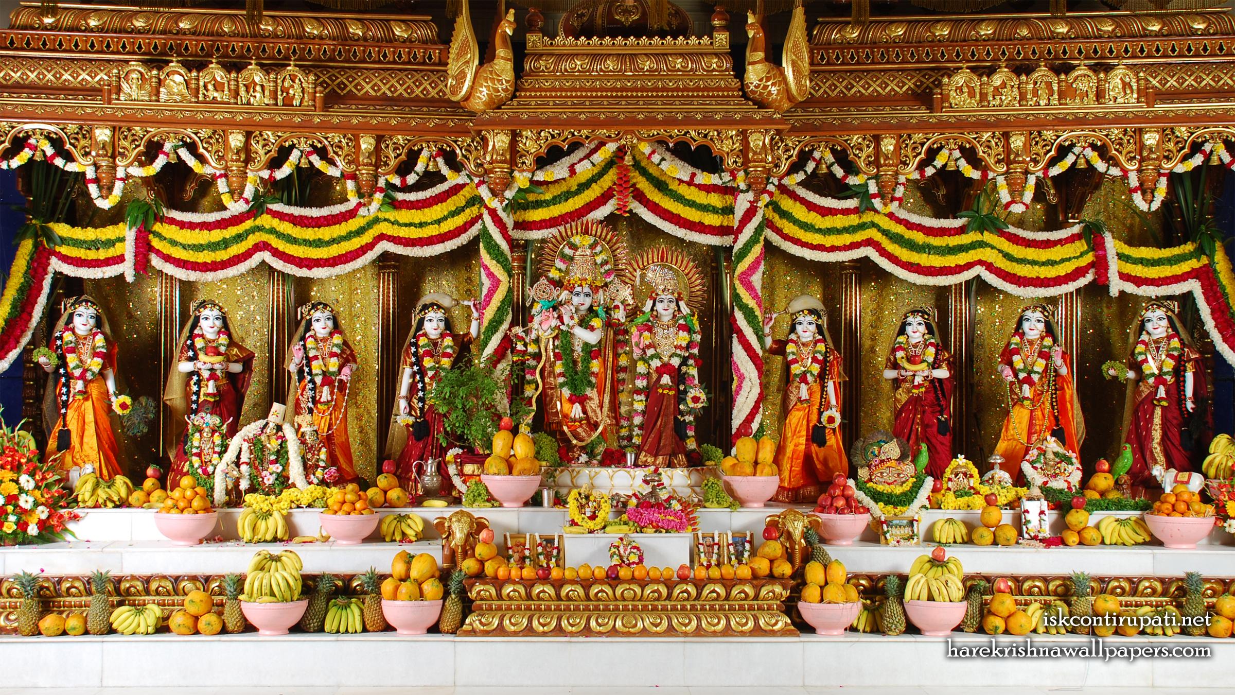 Sri Sri Radha Govinda with Ashtasakhi Wallpaper (005) Size 2400x1350 Download