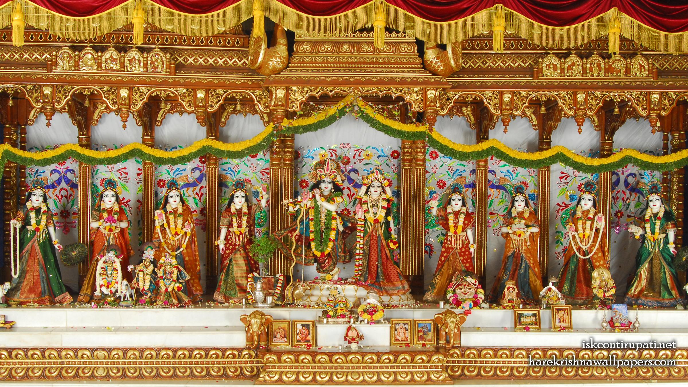 Sri Sri Radha Govinda with Ashtasakhi Wallpaper (006) Size 2400x1350 Download