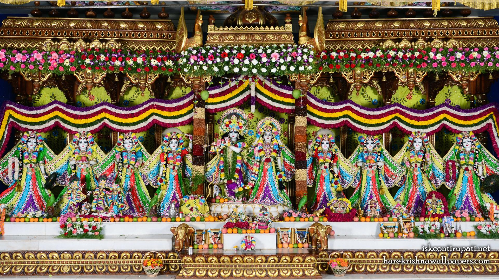 Sri Sri Radha Govinda with Ashtasakhi Wallpaper (007) Size 1920x1080 Download