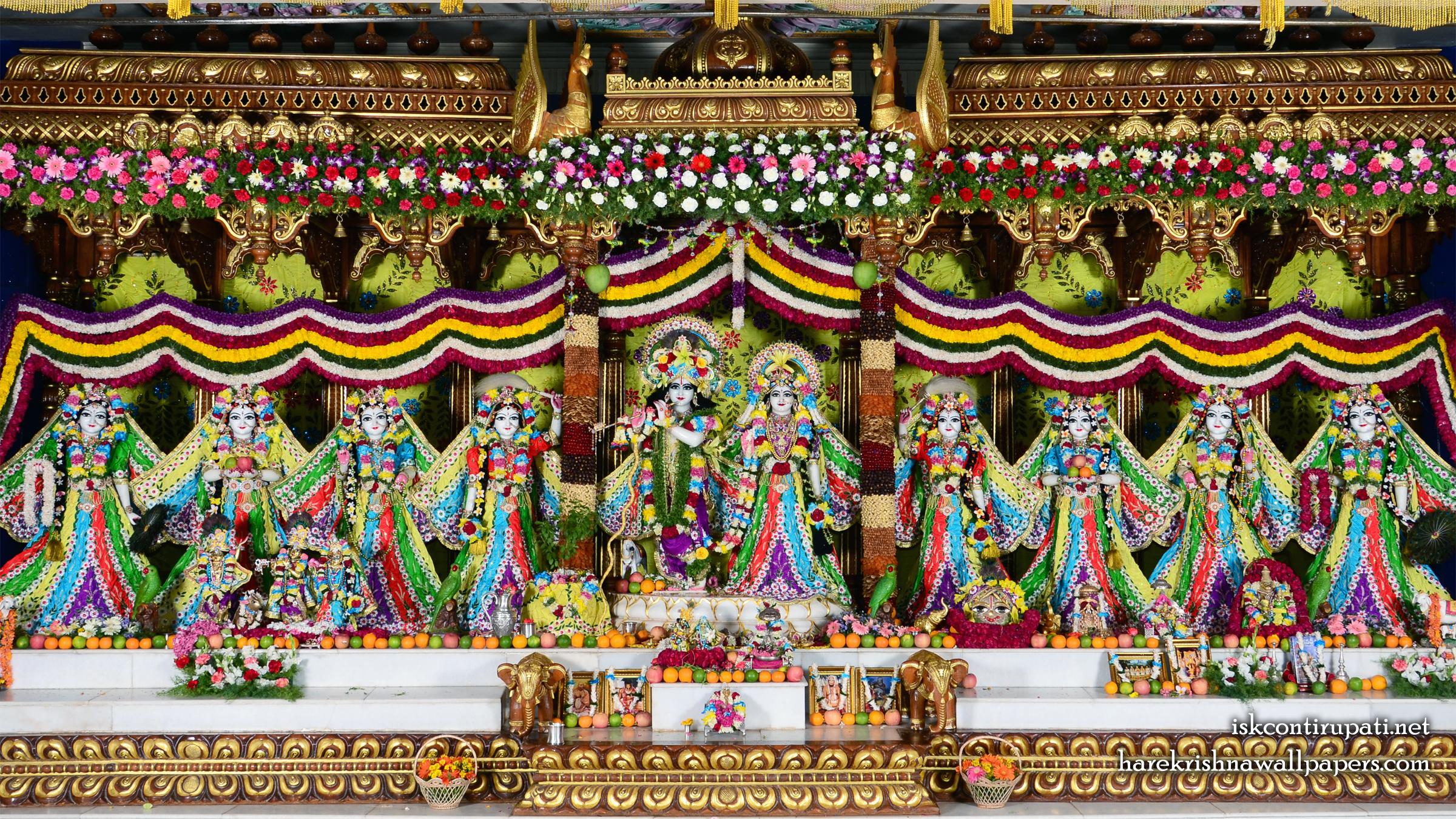 Sri Sri Radha Govinda with Ashtasakhi Wallpaper (007) Size 2400x1350 Download