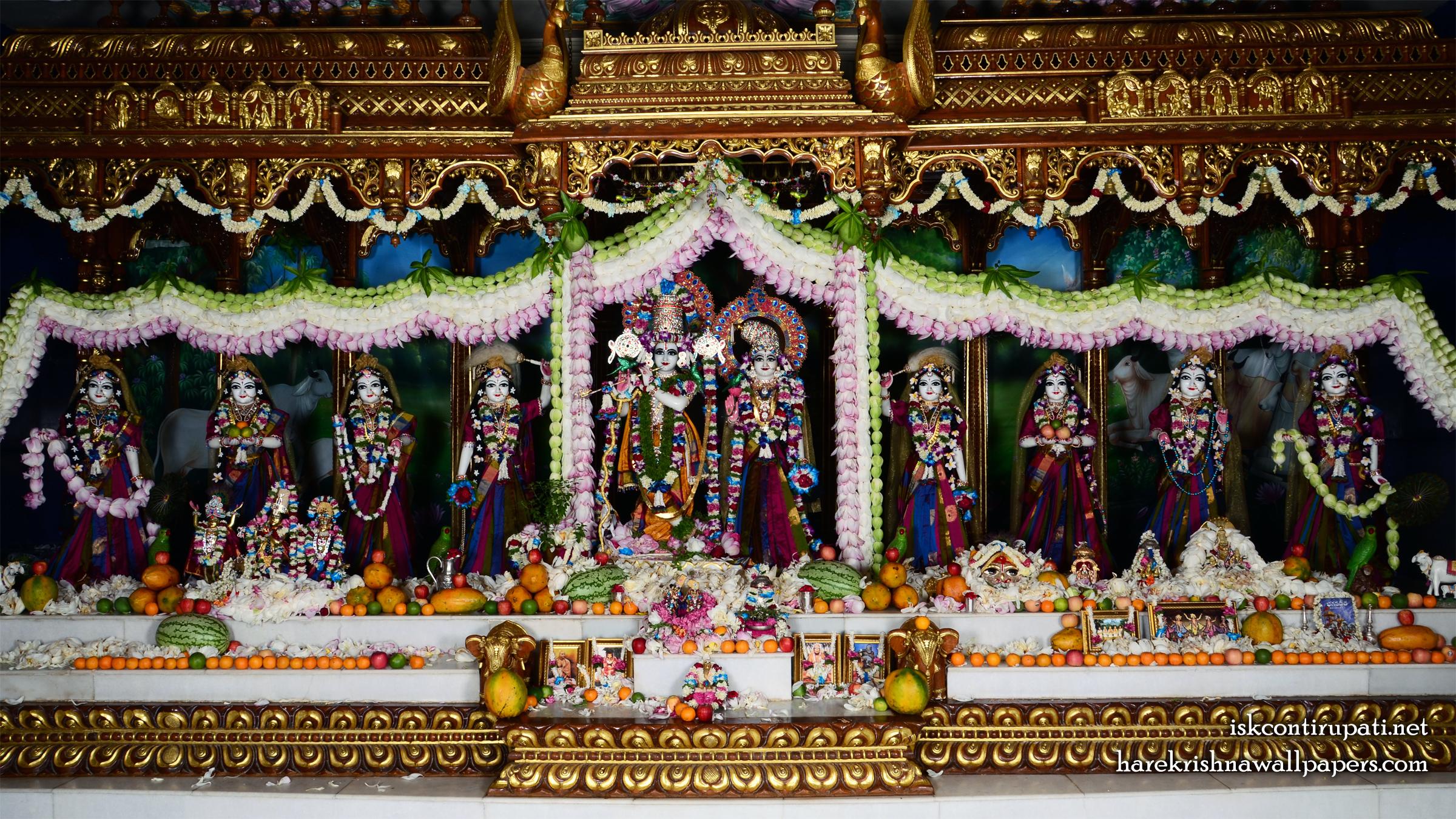 Sri Sri Radha Govinda with Ashtasakhi Wallpaper (008) Size 2400x1350 Download