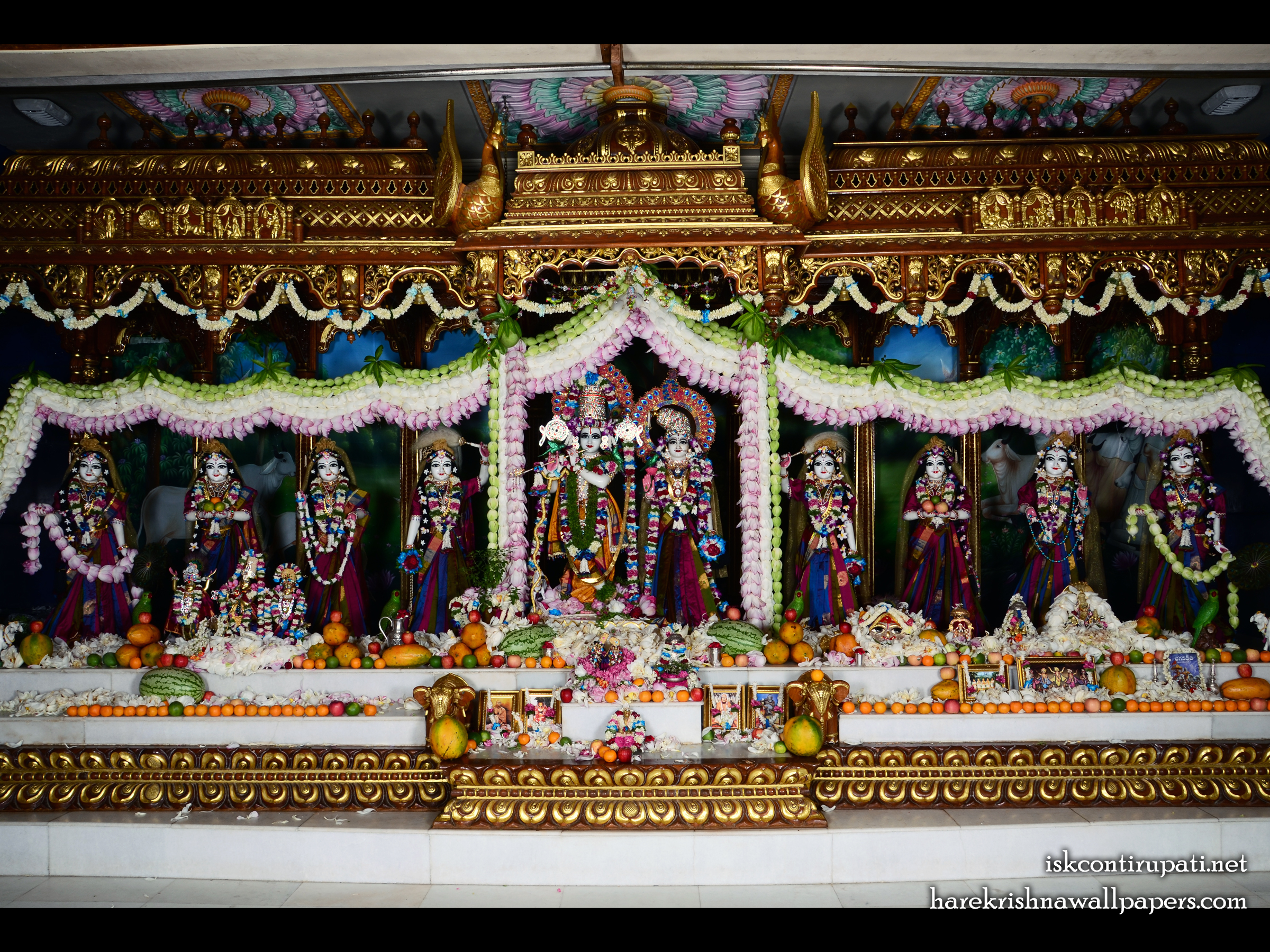 Sri Sri Radha Govinda with Ashtasakhi Wallpaper (008) Size 2400x1800 Download