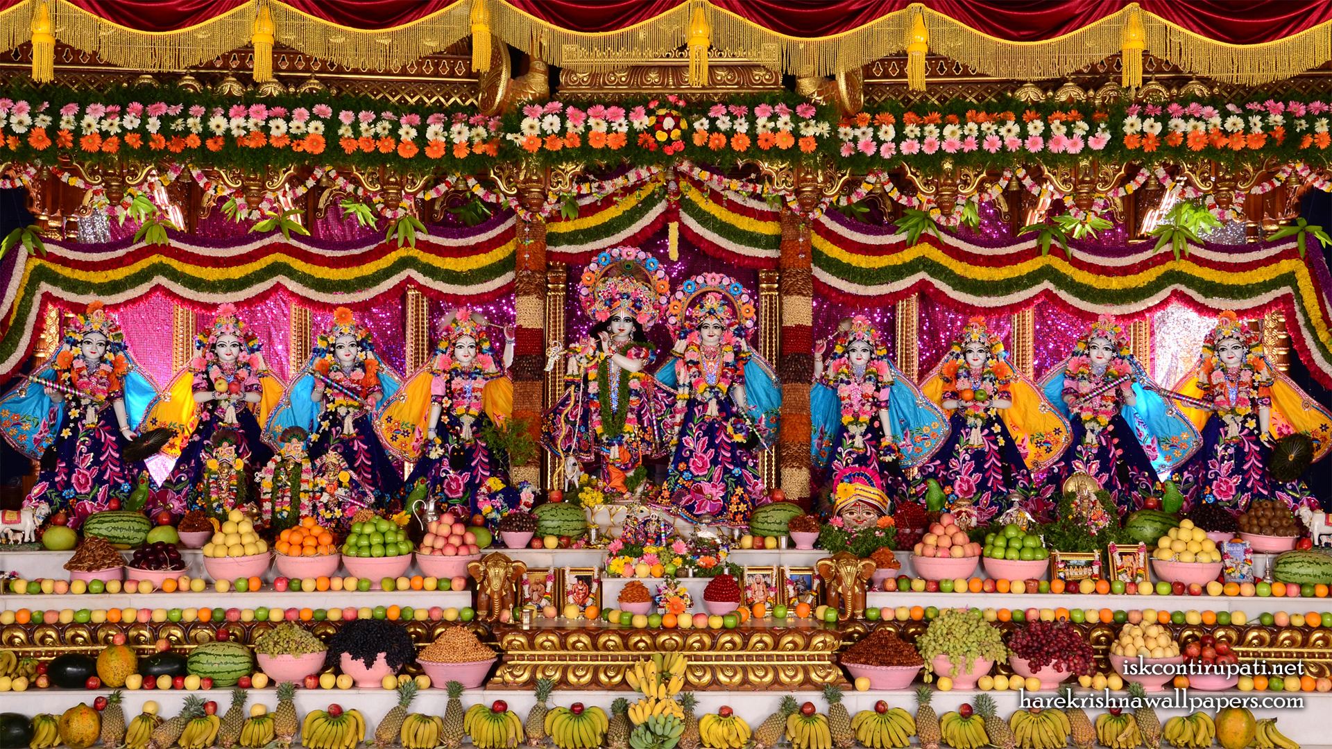 Sri Sri Radha Govinda with Ashtasakhi Wallpaper (009) Size 1920x1080 Download