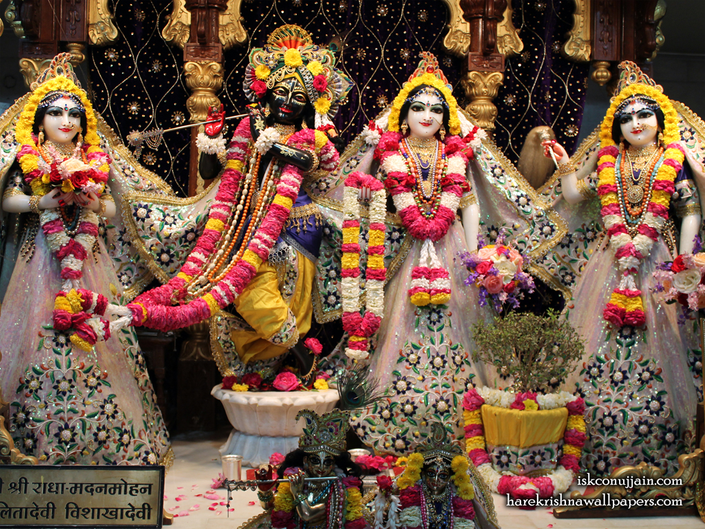 Sri Sri Radha Madanmohan Lalita Vishakha Wallpaper (001) Size 1024x768 Download