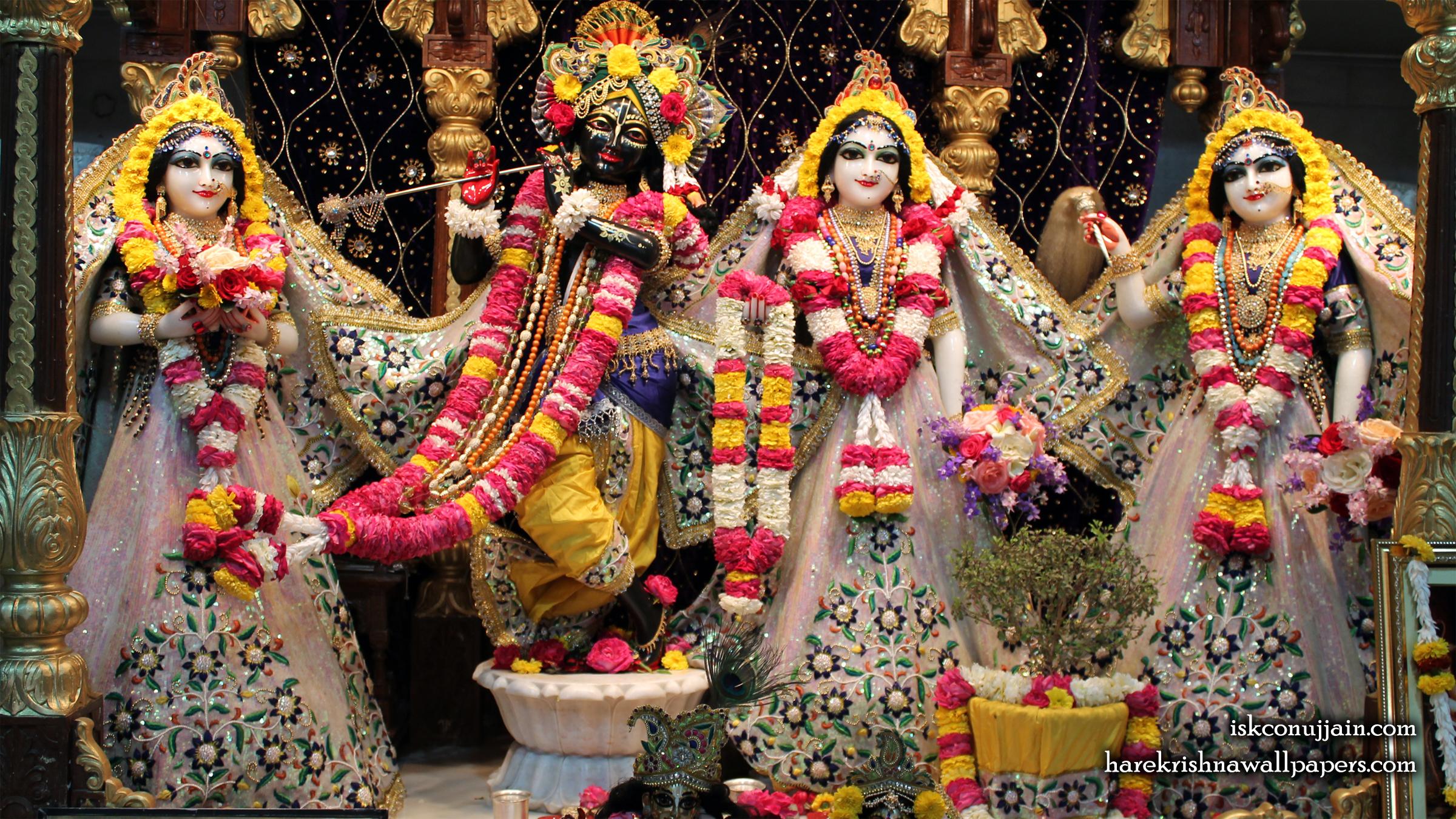 Sri Sri Radha Madanmohan Lalita Vishakha Wallpaper (001) Size 2400x1350 Download
