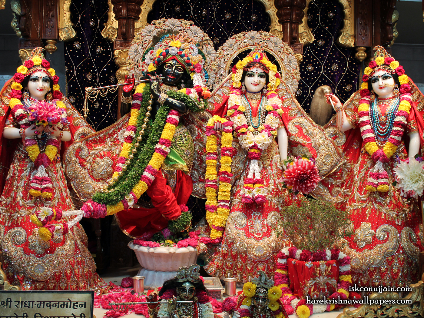 Sri Sri Radha Madanmohan Lalita Vishakha Wallpaper (003) Size 1400x1050 Download