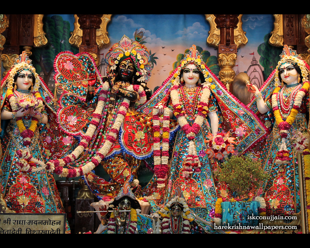 Sri Sri Radha Madanmohan Lalita Vishakha Wallpaper (004) Size 1280x1024 Download