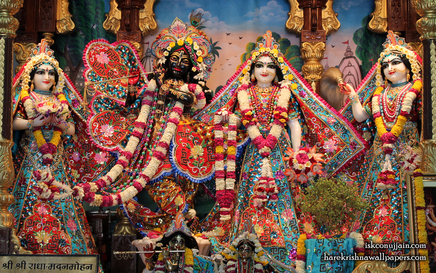 Sri Sri Radha Madanmohan Lalita Vishakha Wallpaper (004) Size 1440x900 Download