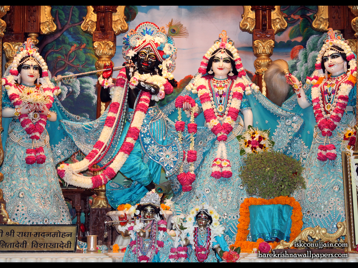 Sri Sri Radha Madanmohan Lalita Vishakha Wallpaper (006) Size 1400x1050 Download