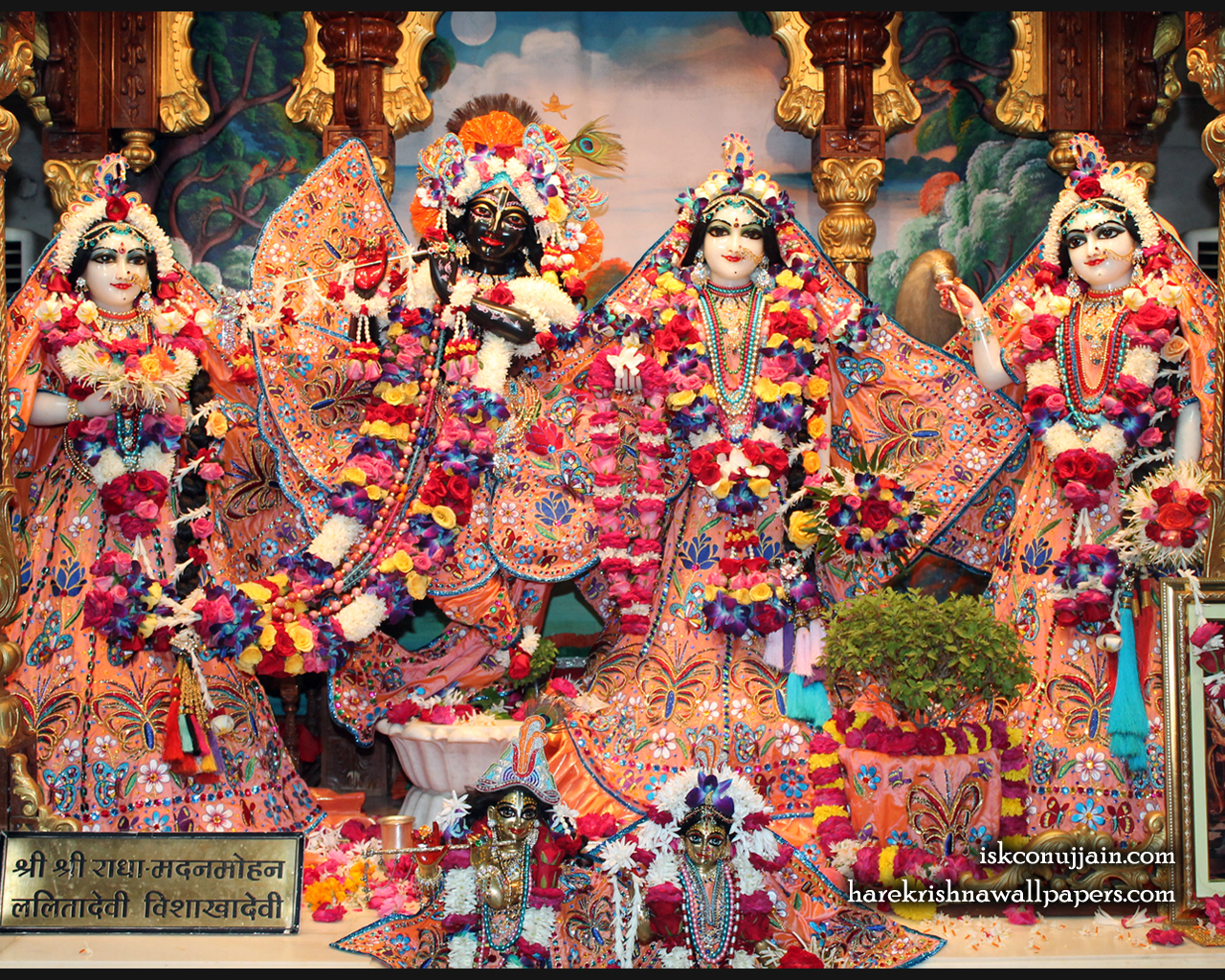 Sri Sri Radha Madanmohan Lalita Vishakha Wallpaper (007) Size 1280x1024 Download