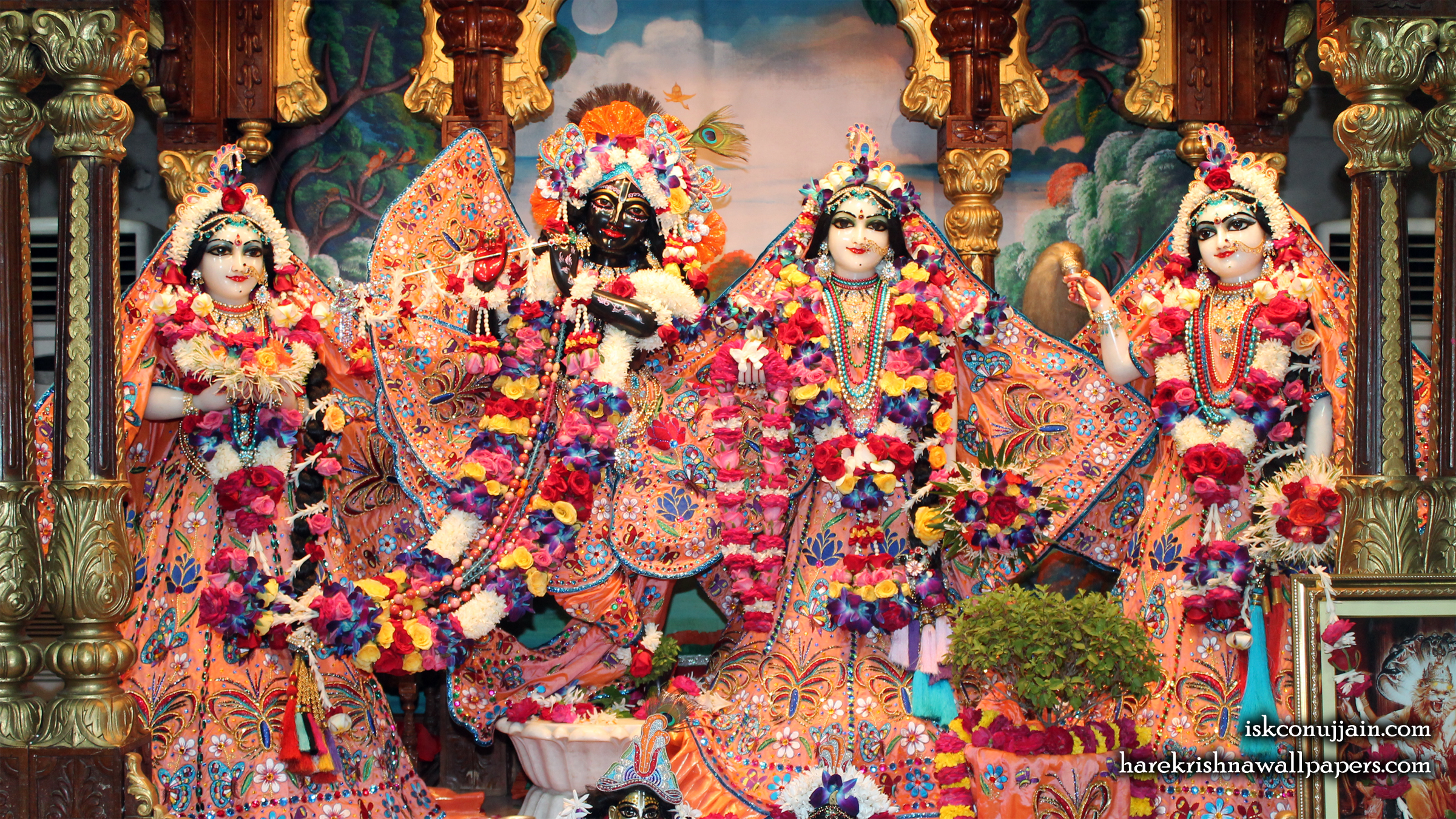 Sri Sri Radha Madanmohan Lalita Vishakha Wallpaper (007) Size 2400x1350 Download