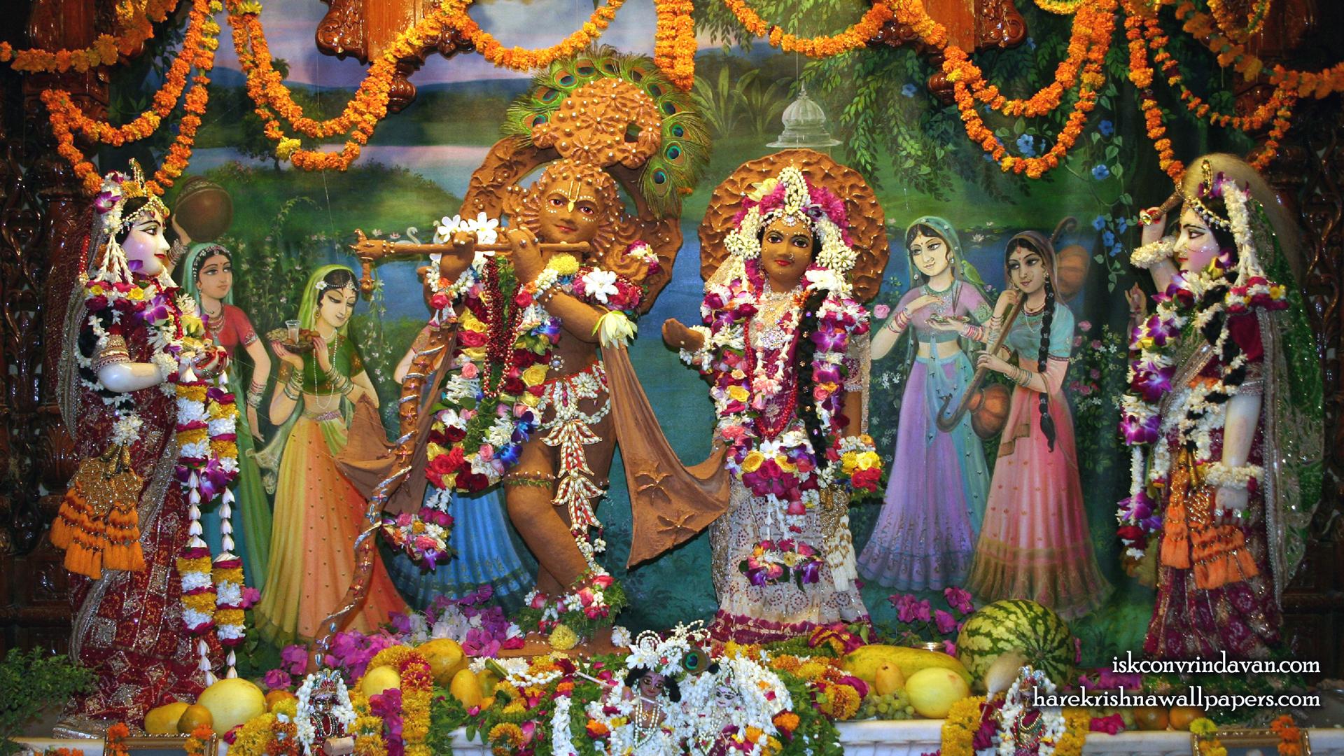 Sri Sri Radha Shyamsundar with Lalita Vishakha Wallpaper (001) Size 1920x1080 Download