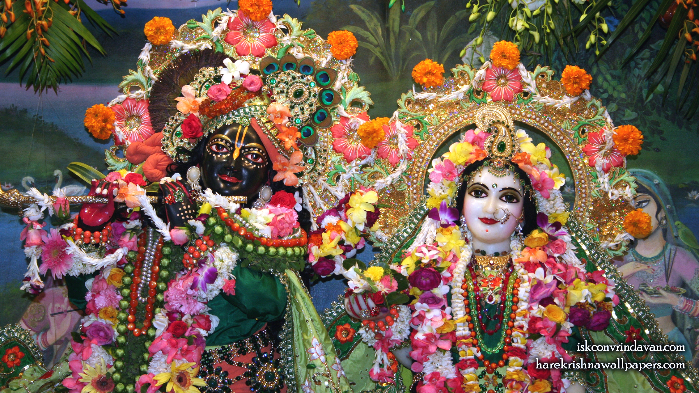 Sri Sri Radha Shyamsundar Close up Wallpaper (002) Size 2400x1350 Download