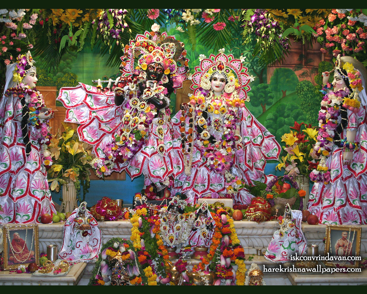 Sri Sri Radha Shyamsundar with Lalita Vishakha Wallpaper (002) Size 1280x1024 Download