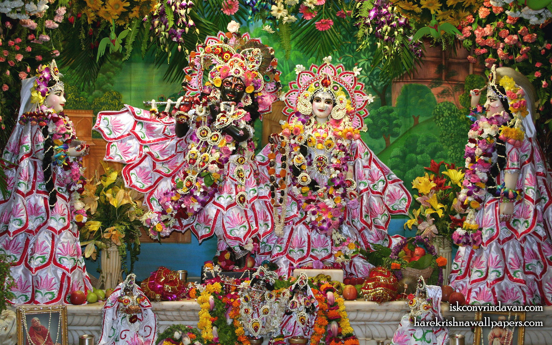 Sri Sri Radha Shyamsundar with Lalita Vishakha Wallpaper (002) Size 1920x1200 Download