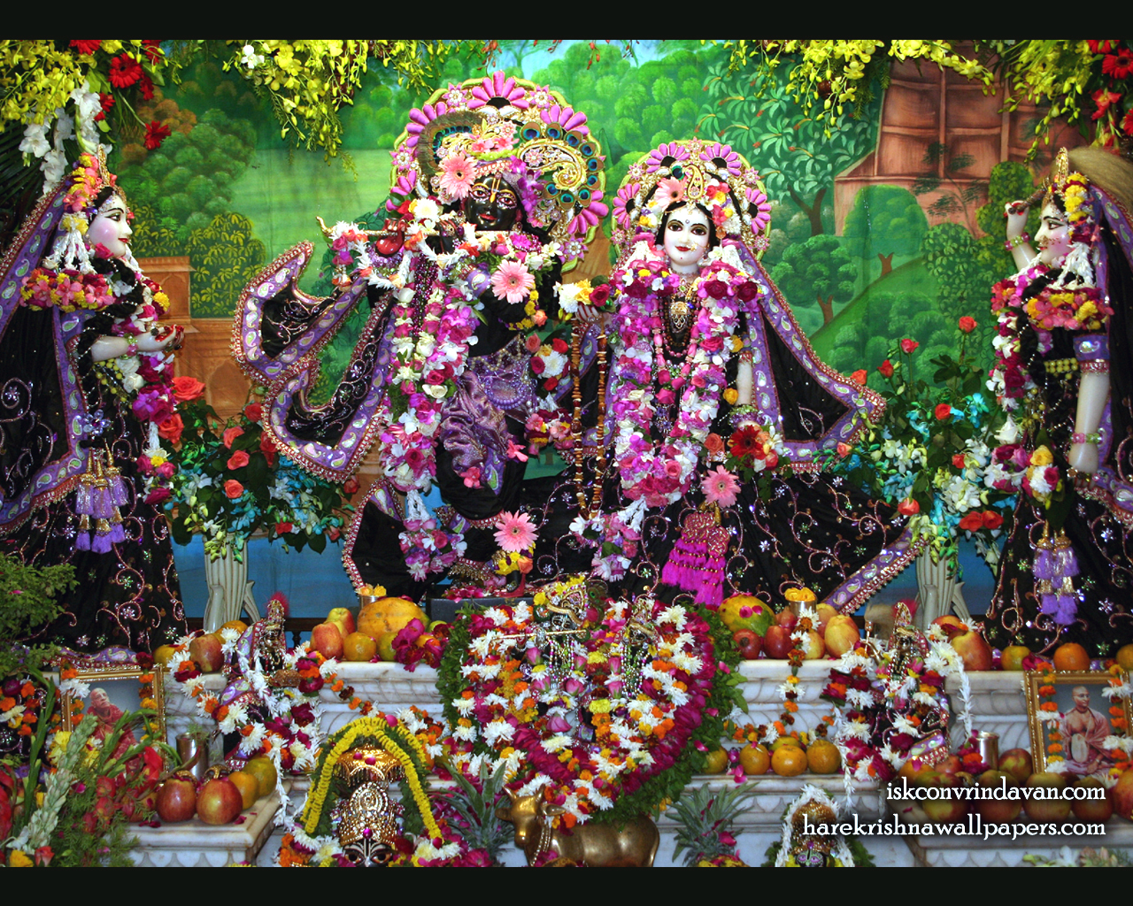 Sri Sri Radha Shyamsundar with Lalita Vishakha Wallpaper (003) Size 1280x1024 Download